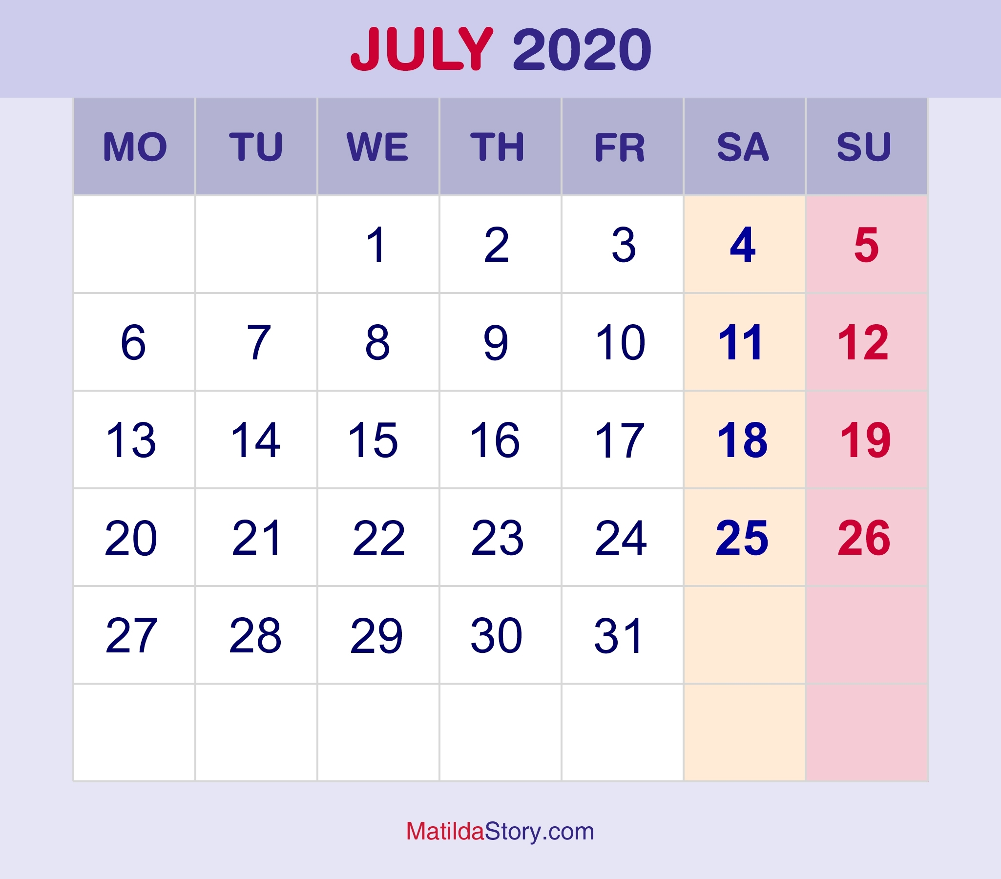 July 2020 Monthly Calendar, Monthly Planner, Printable Free with regard to Printable Monday Calendar Monday Start