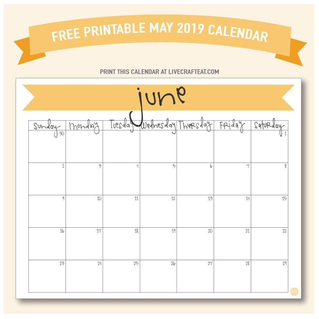 June 2019 Calendar - Free Printable | Live Craft Eat