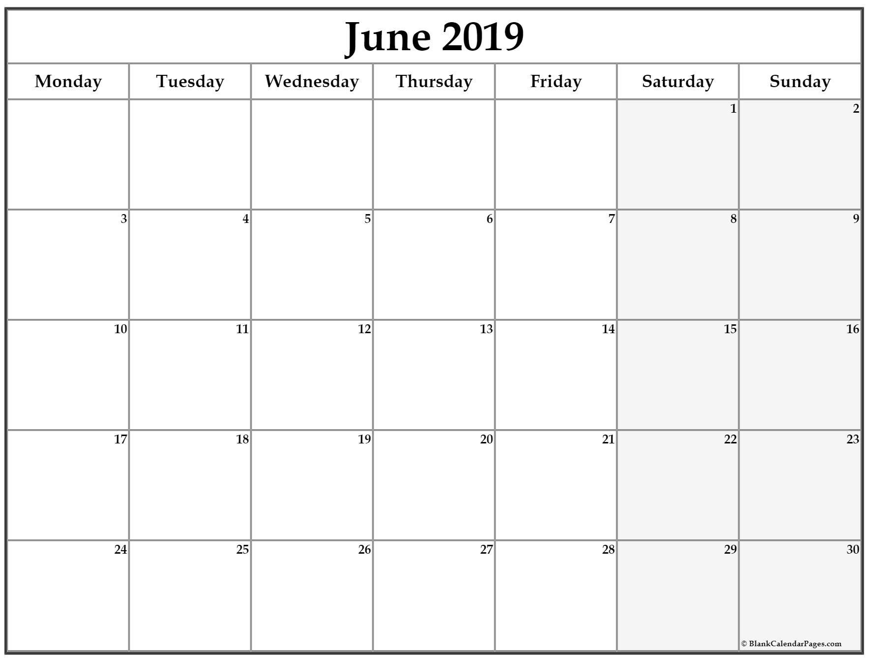 June 2019 Monday Calendar. Monday To Sunday | Calendar for Printable Monday To Sunday 2020 Calendar