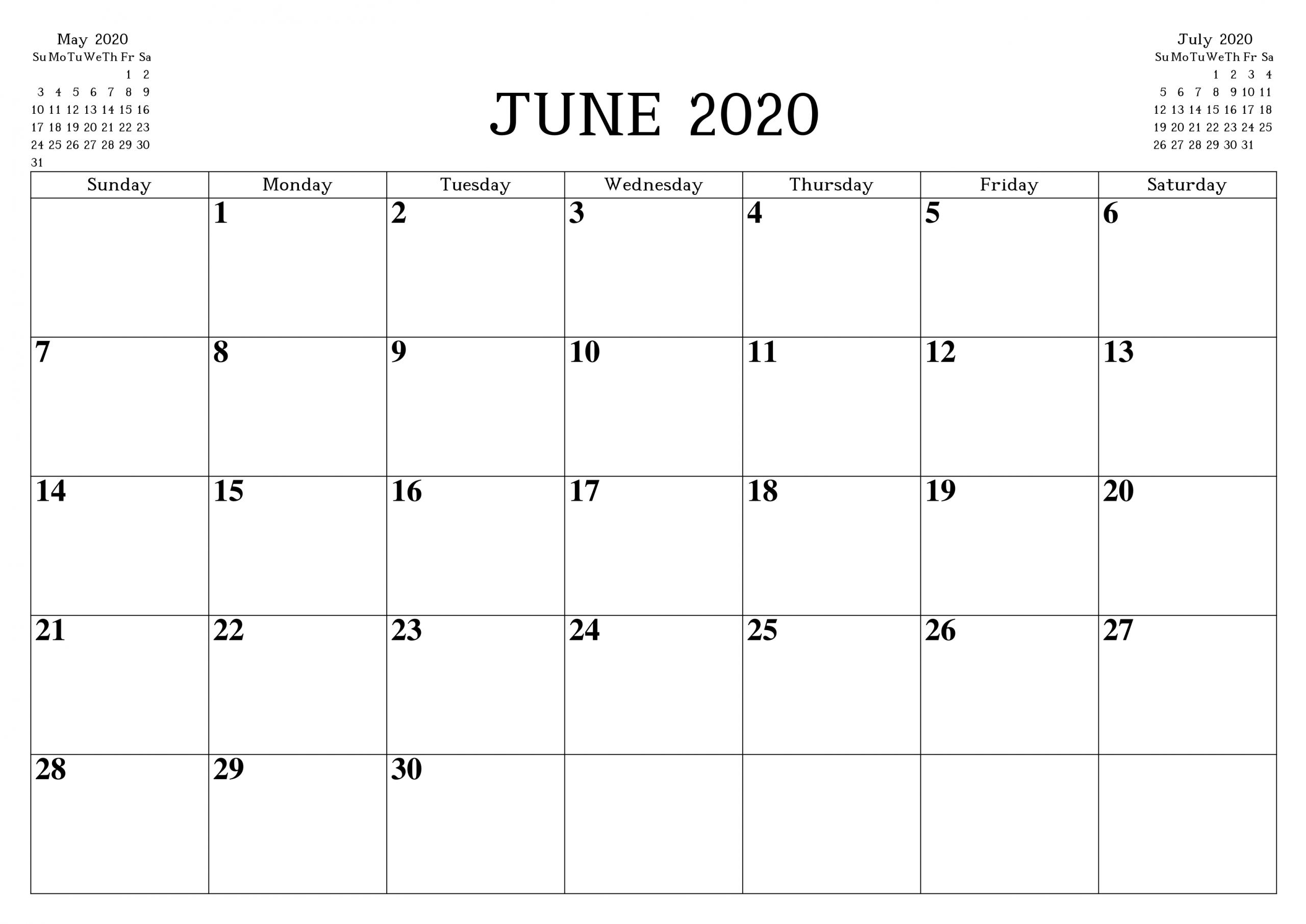June 2020 Printable Calendar Free Waterproof - Free