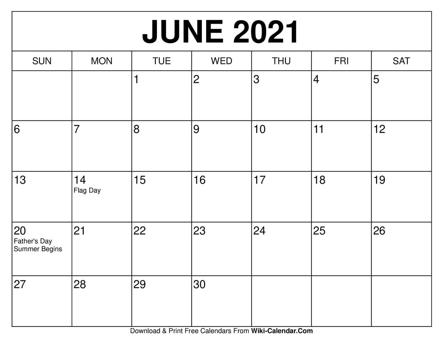 June 2021 Calendar In 2020 | Calendar Printables, 2020