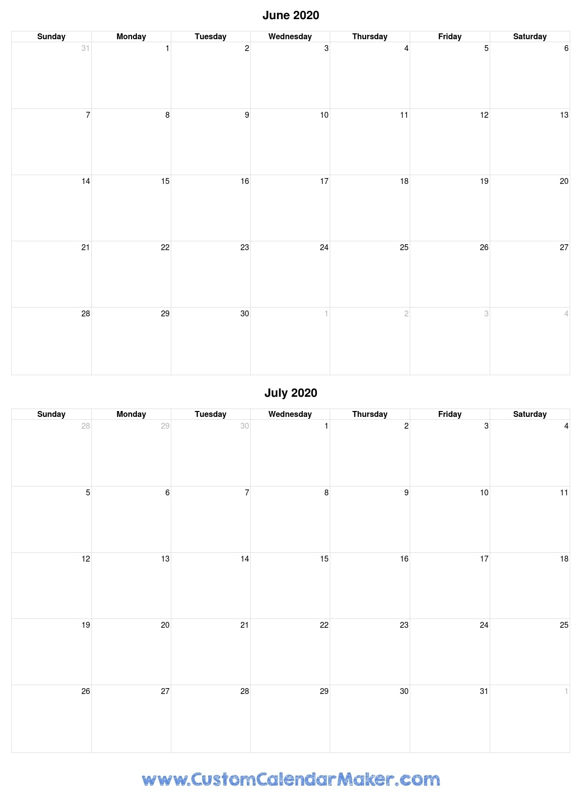 June And July 2020 Free Printable Calendar Template