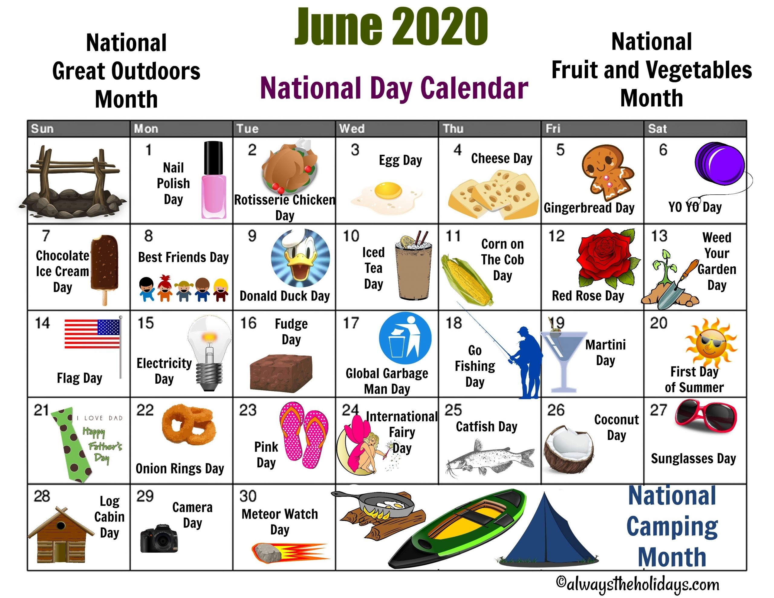 June National Day Calendar Printable - Father'S Day, Camping with regard to 2020 Calendar Of Special Days