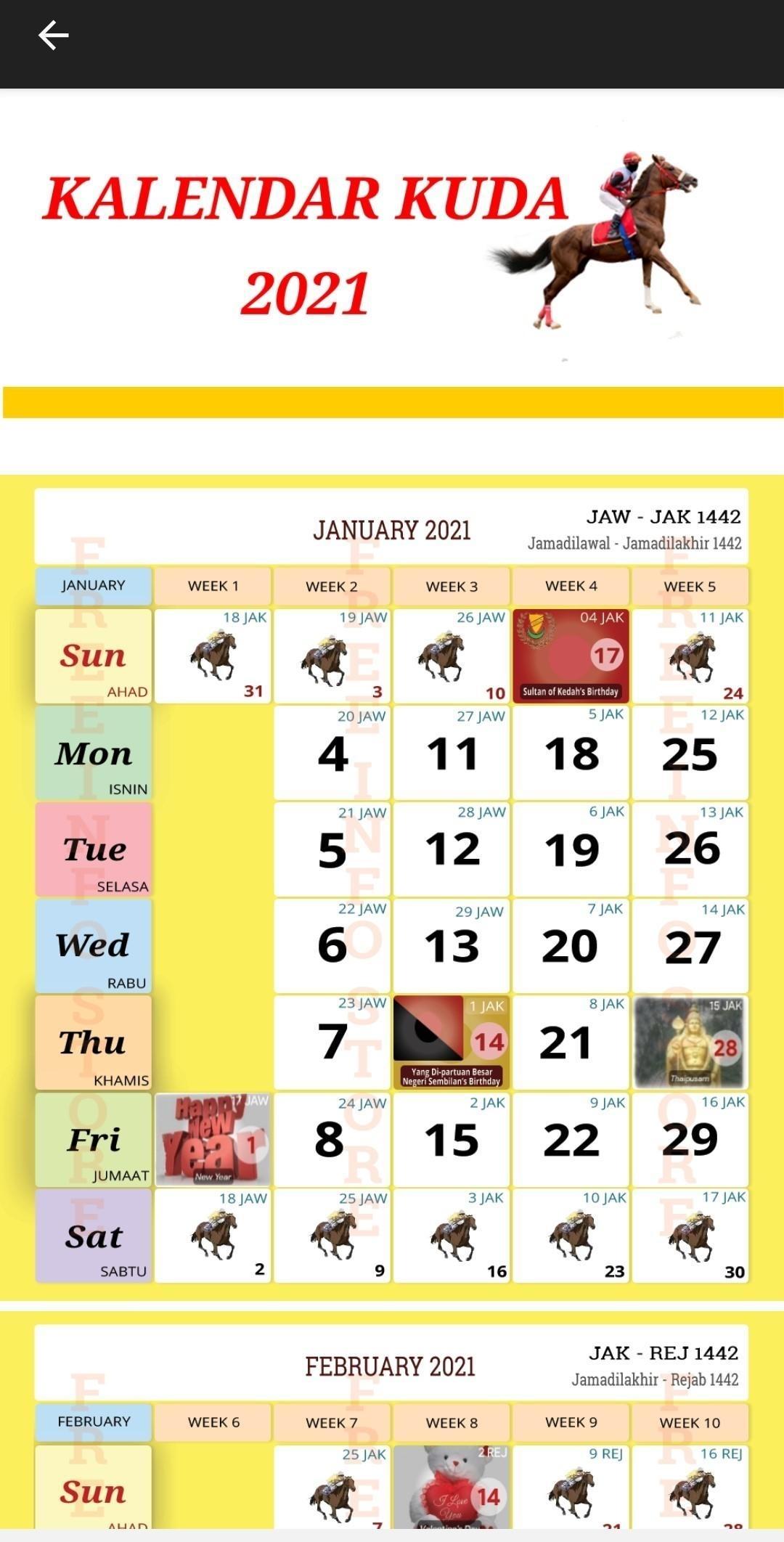 Kalendar Kuda 2021 Pour Android - Téléchargez L'Apk