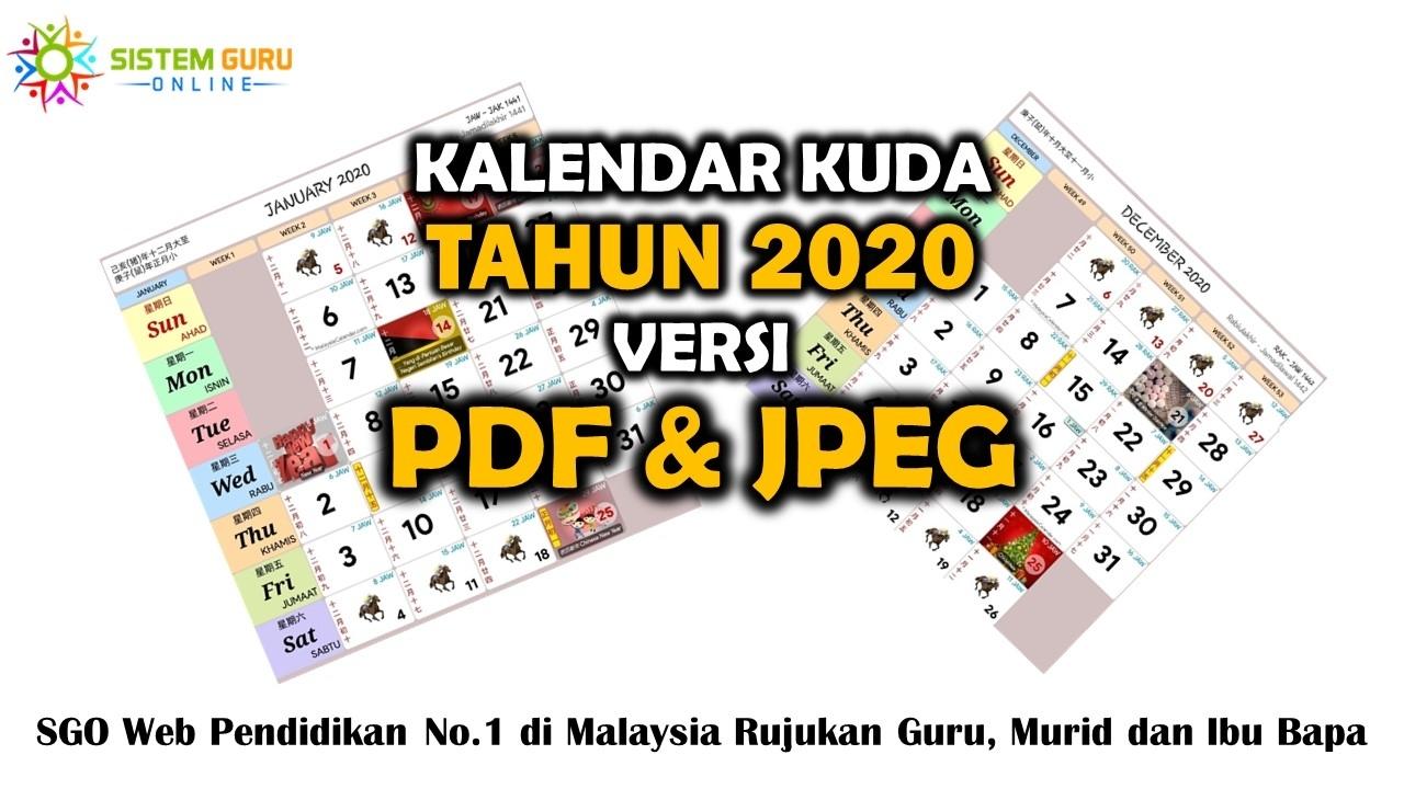 Kalendar Kuda Tahun 2020 Versi Pdf Dan Jpeg regarding Calendar 2020 Free Printable Kuda