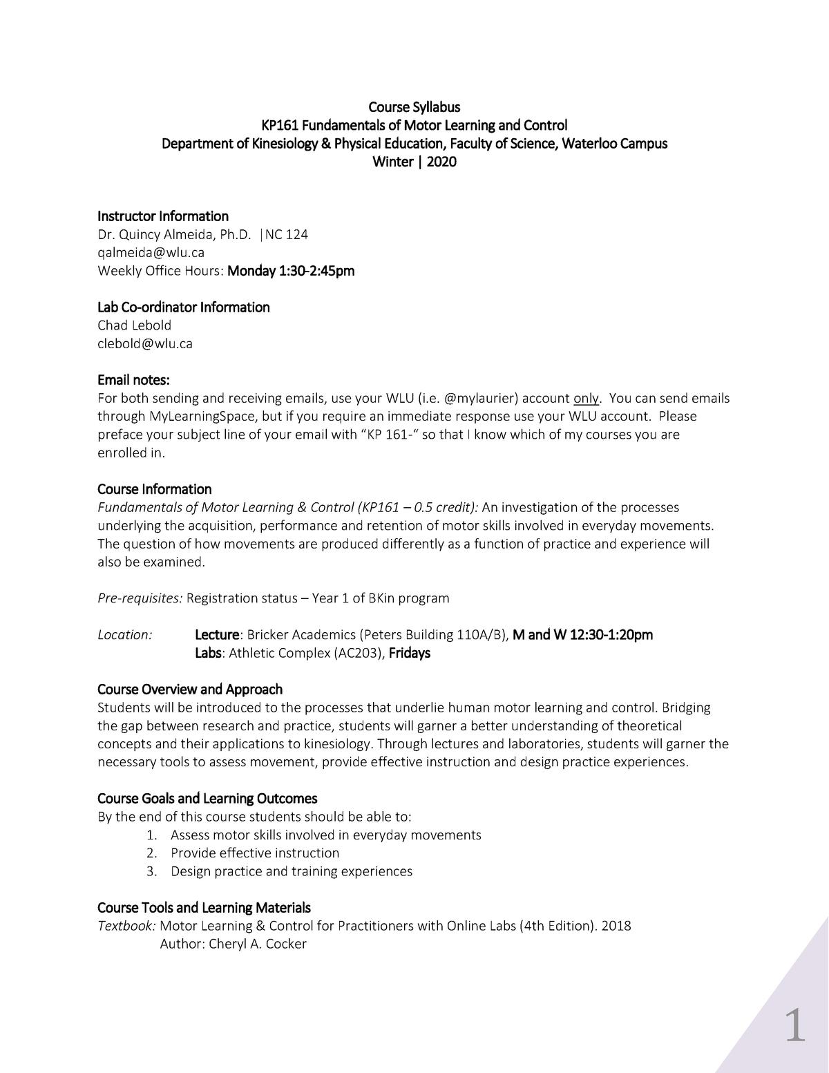 Kp161 Syllabus 2020Qja - Motor Learning And Control - Wlu