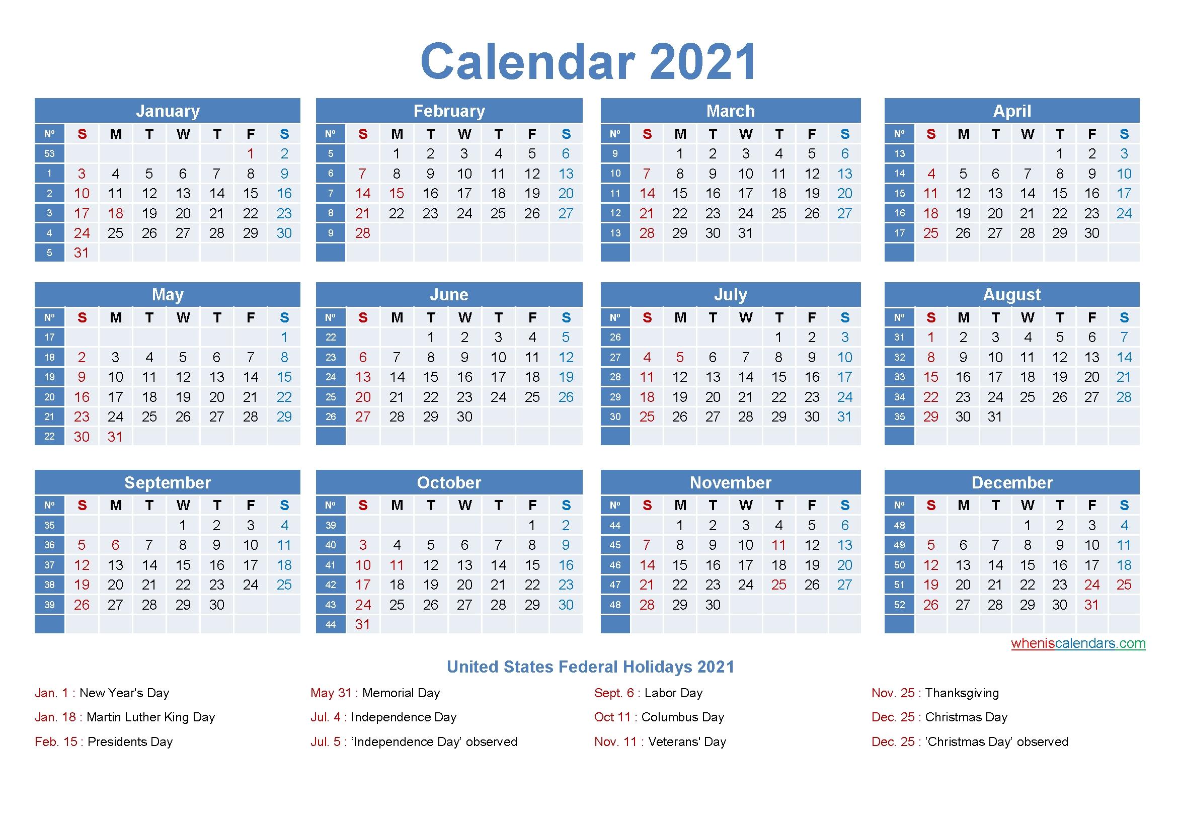 Large Desk Calendar 2021 With Holidays