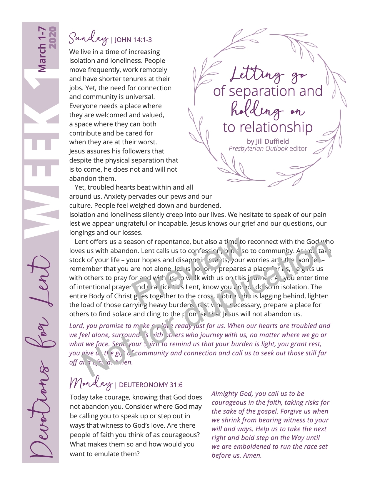 Lenten Devotions — Year A (2020) - The Presbyterian Outlook intended for Printable Presbyterian 2020 Liturgical Color Calendar