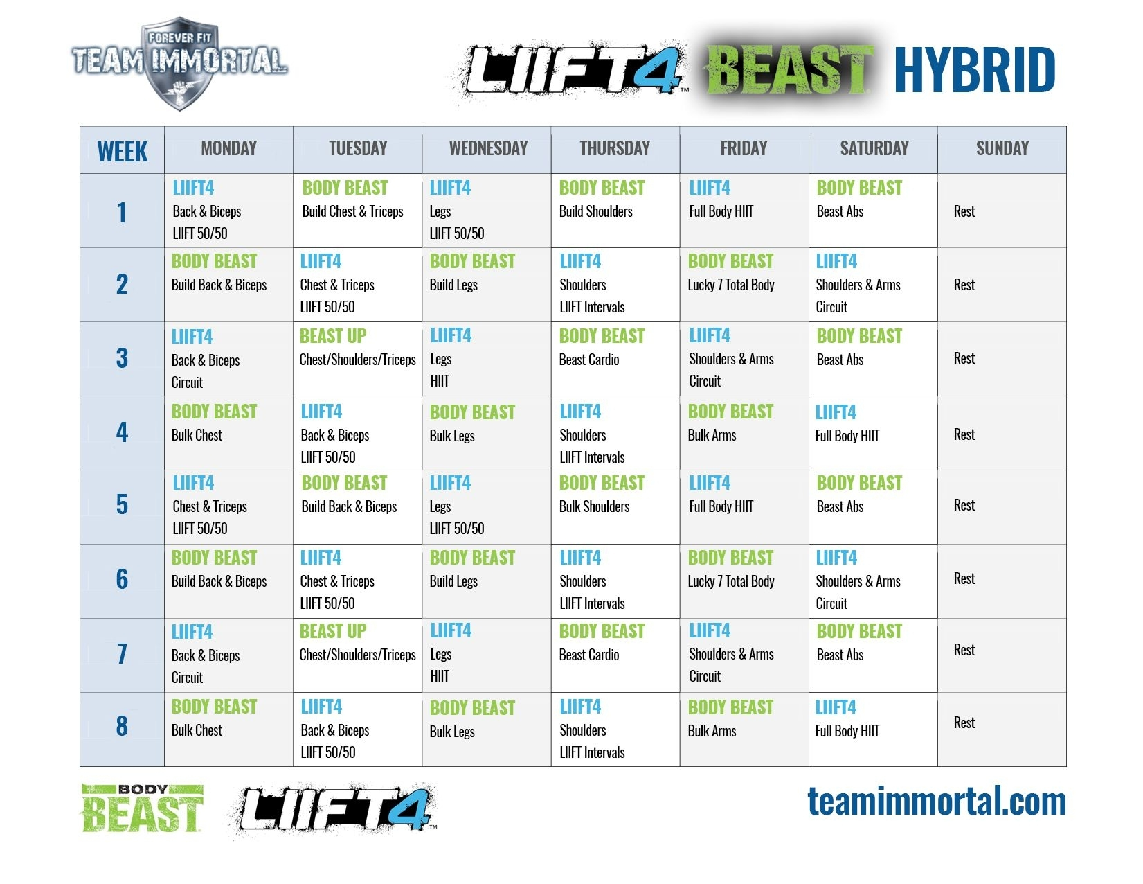 Liift4 Body Beast Hybrid   Body Beast Hybrid, Body Beast intended for Calendrier Hybride Insanity Max 30