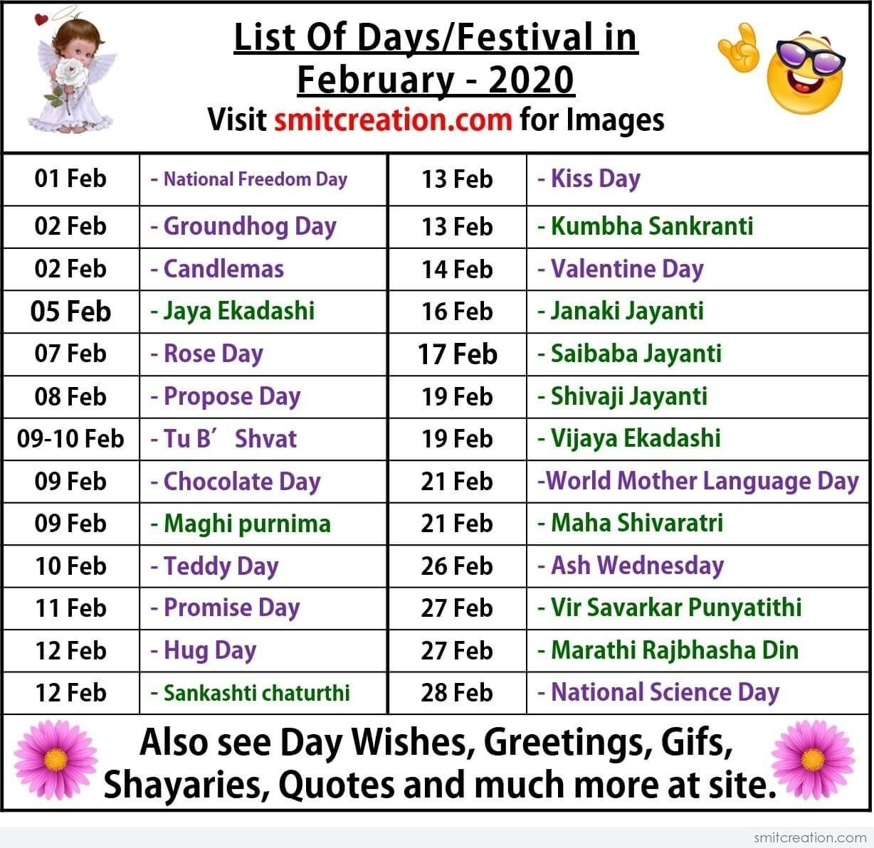 List Of Days/Festival In February– 2020 - Smitcreation in List Of Special Days 2020