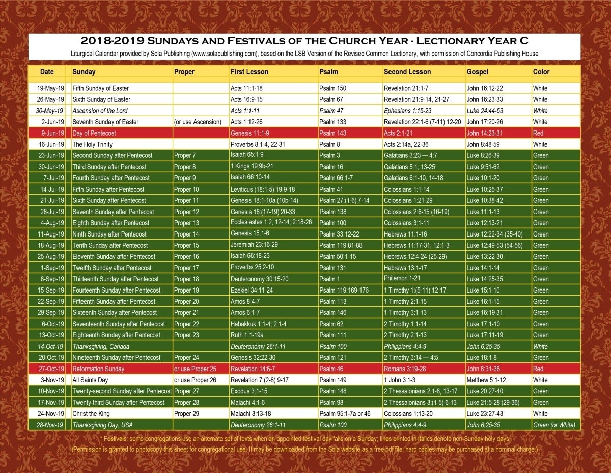 Liturgical Catholic Calendar With Color Of Priest Vest Year