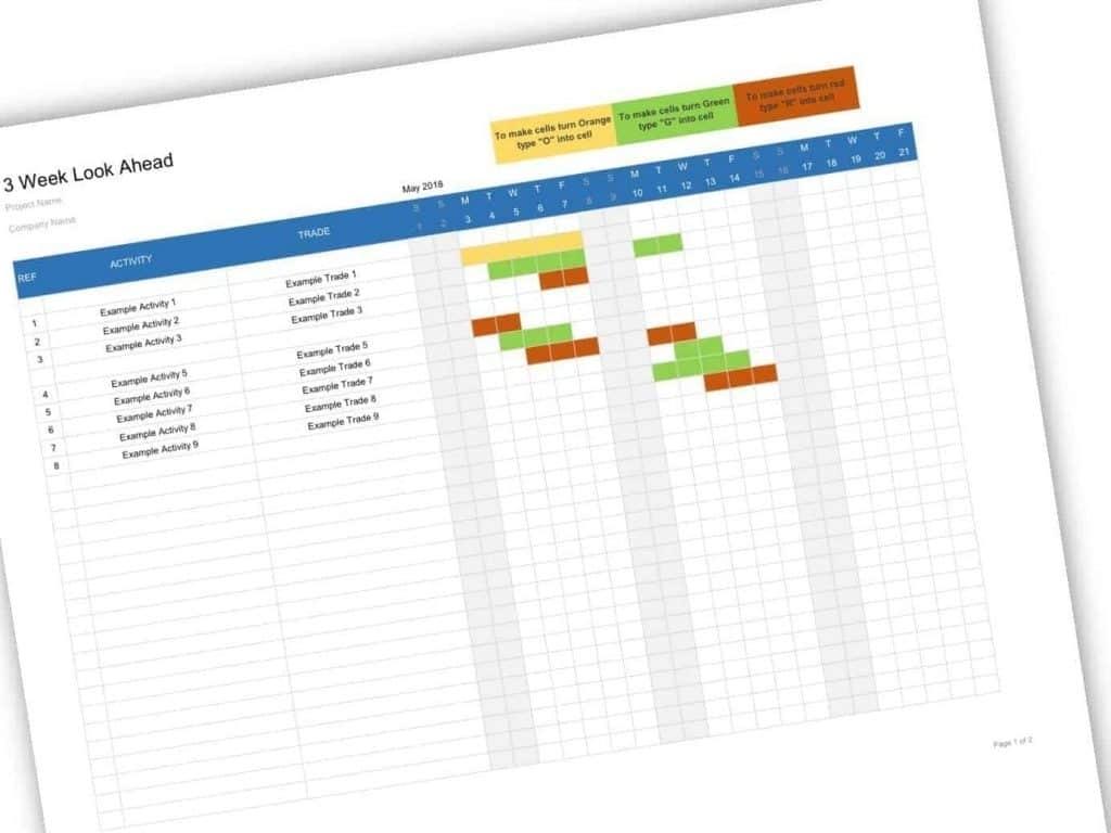Look Ahead Schedule Template | Calendar For Planning