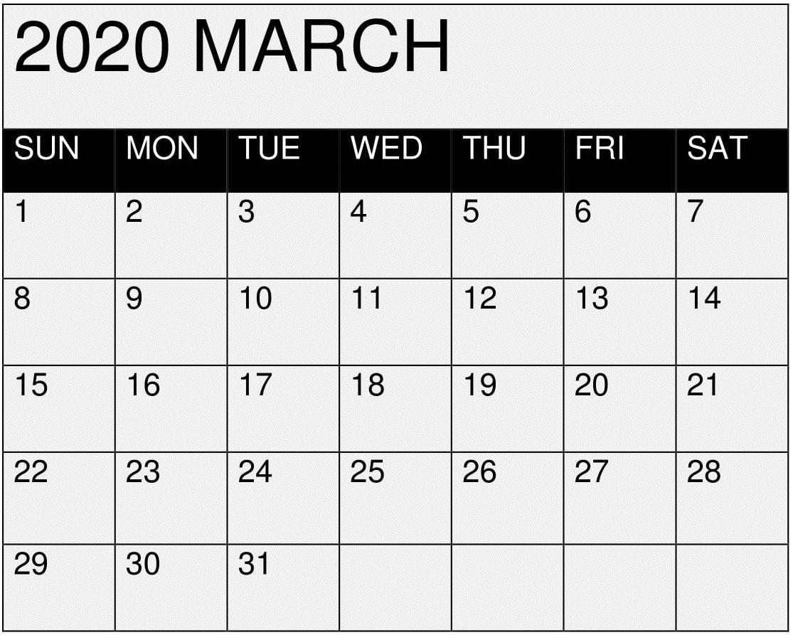 March 2020 Calendar Printable Editablemonth - Latest within Google 2020 Calendar Template Editable