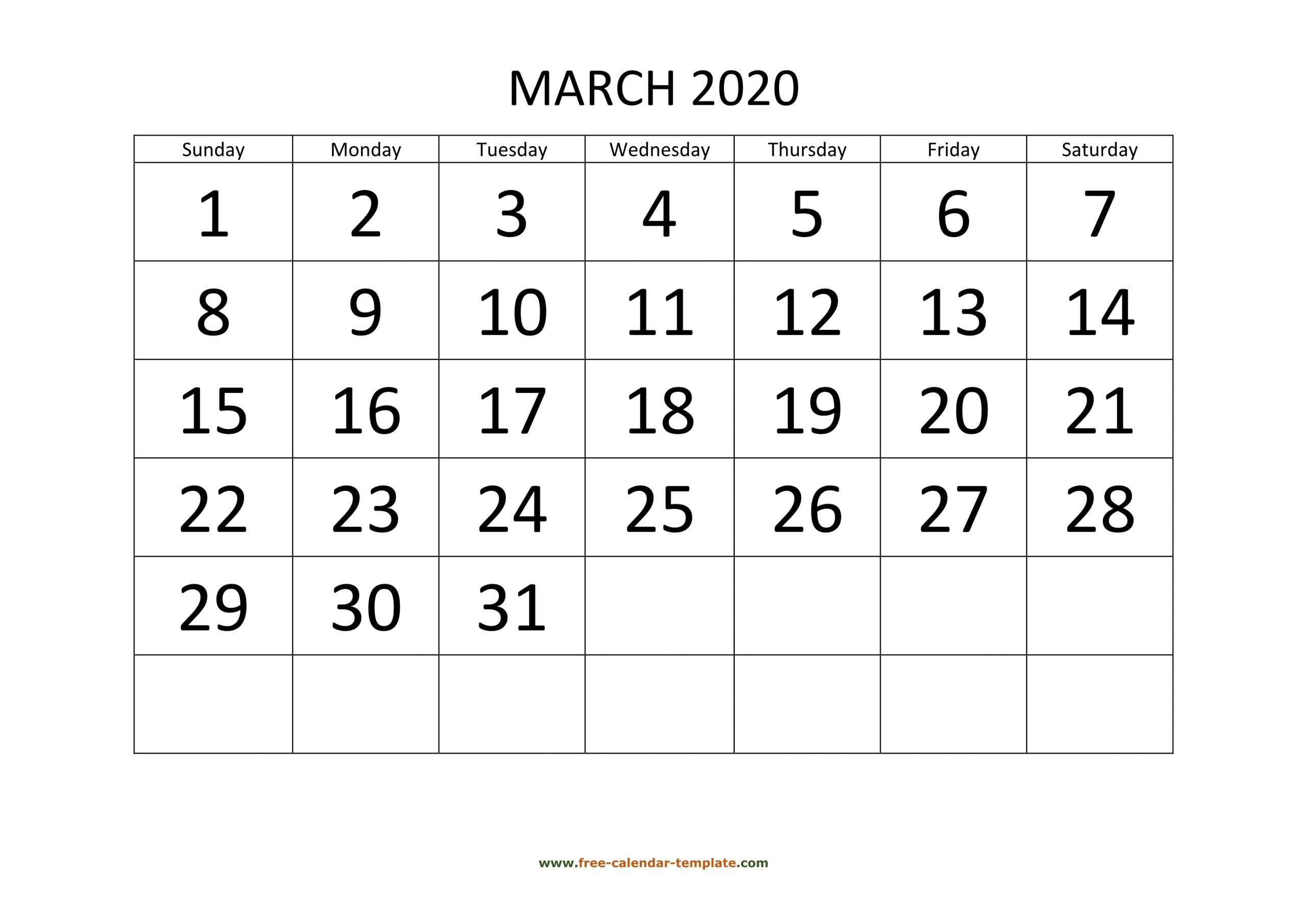 March 2020 Free Calendar Tempplate | Free-Calendar-Template for Large Box Printable 2020 Calendar