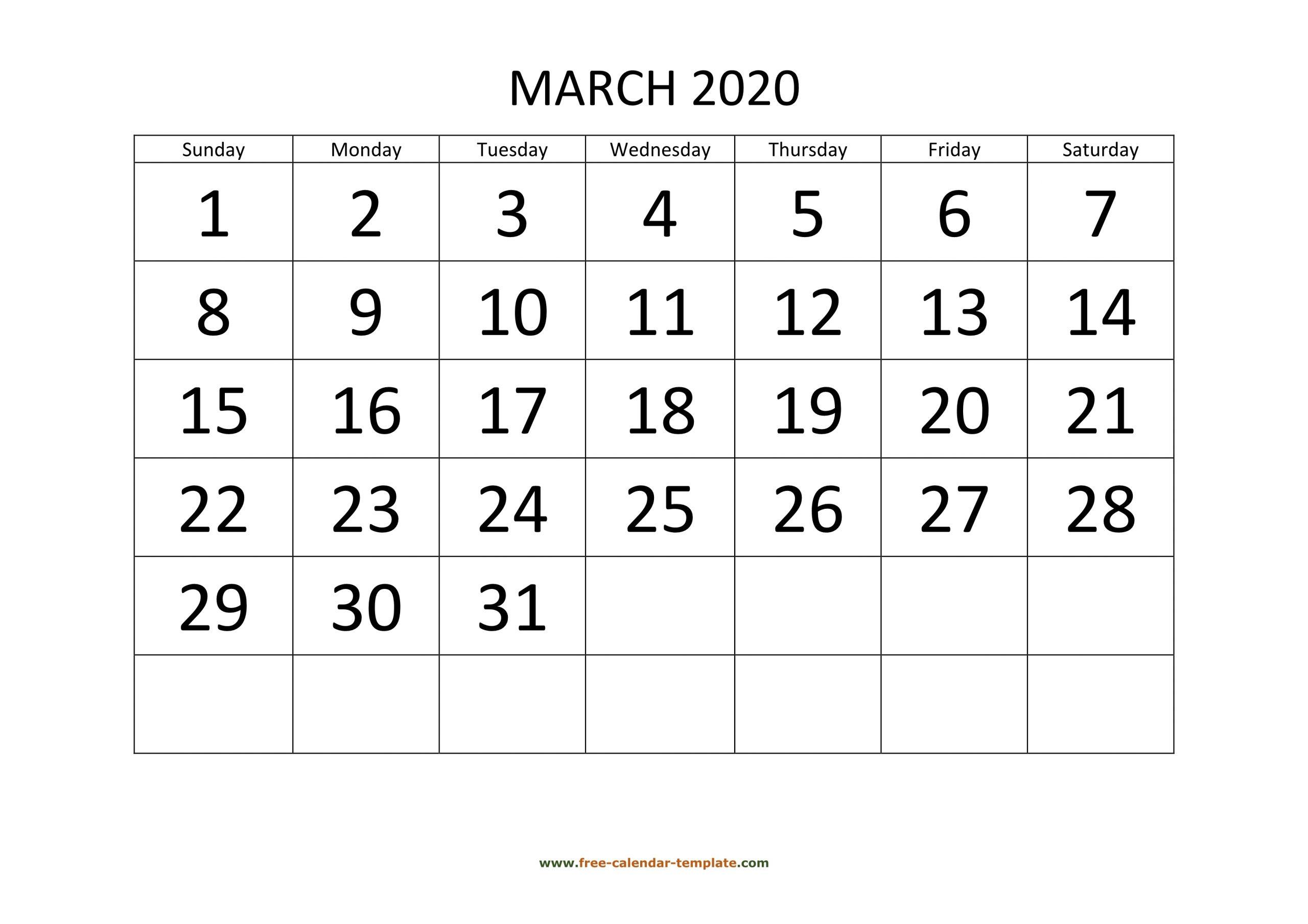March 2020 Free Calendar Tempplate | Free-Calendar-Template regarding Free Printable 2020 Calendars Large Numbers
