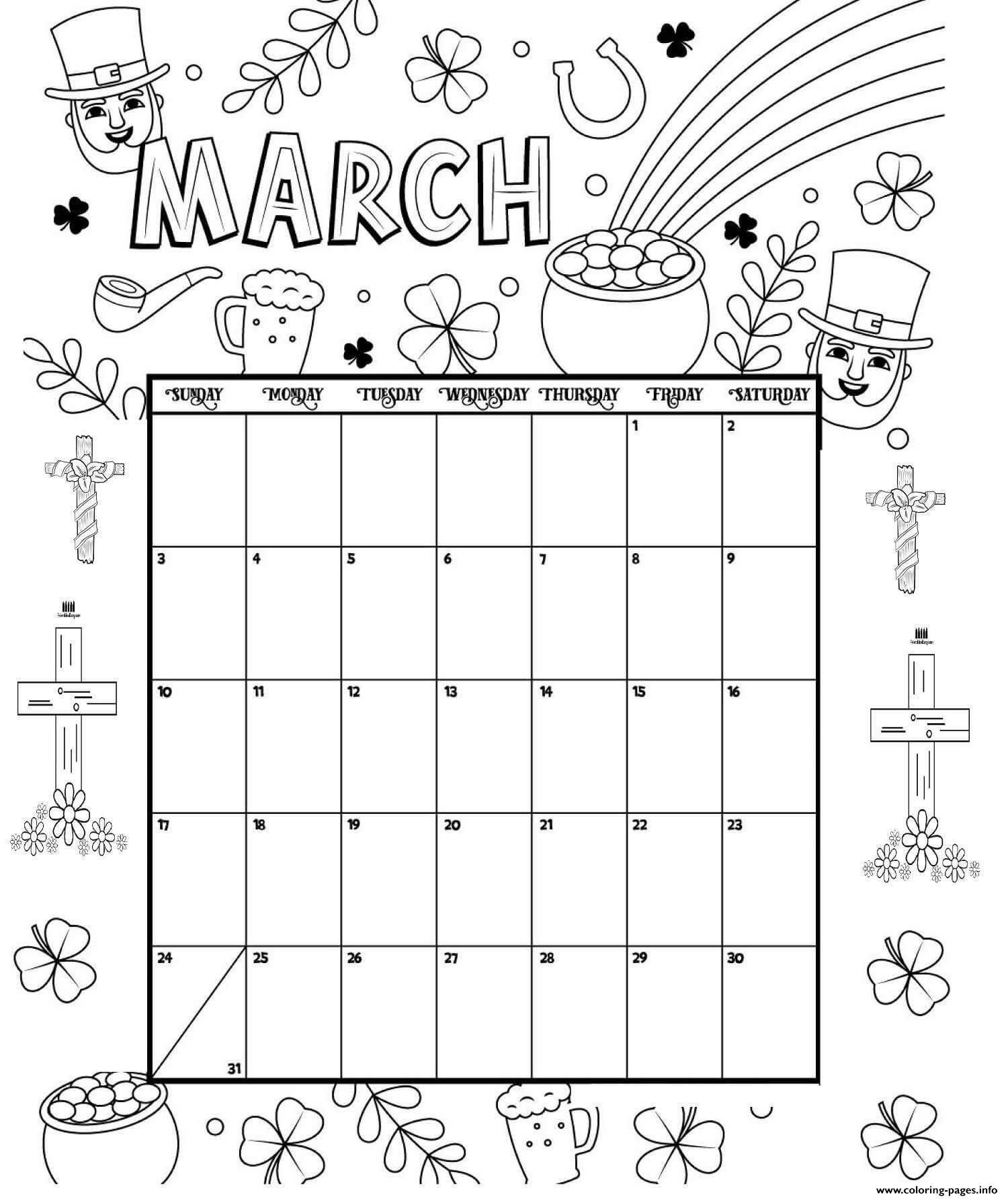 March Coloring Calendarges Printable 1547166132March Free regarding Printable Coloring 2020 Monthly Calendar