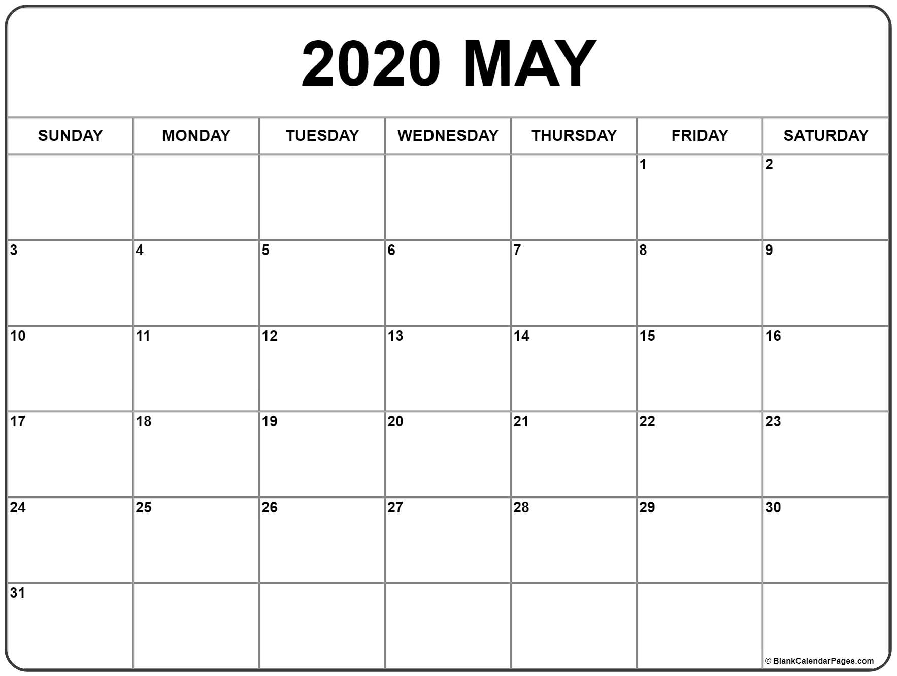 May 2020 Calendar | Free Printable Monthly Calendars pertaining to Large Numbers Free Printable Calendar 2020