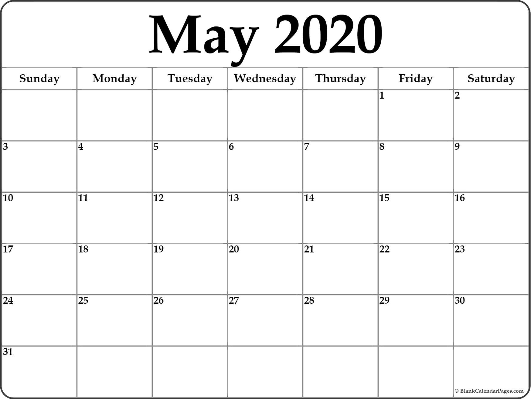 May 2020 Calendar | Free Printable Monthly Calendars throughout Blank Calendar 2020 Printable Monthly