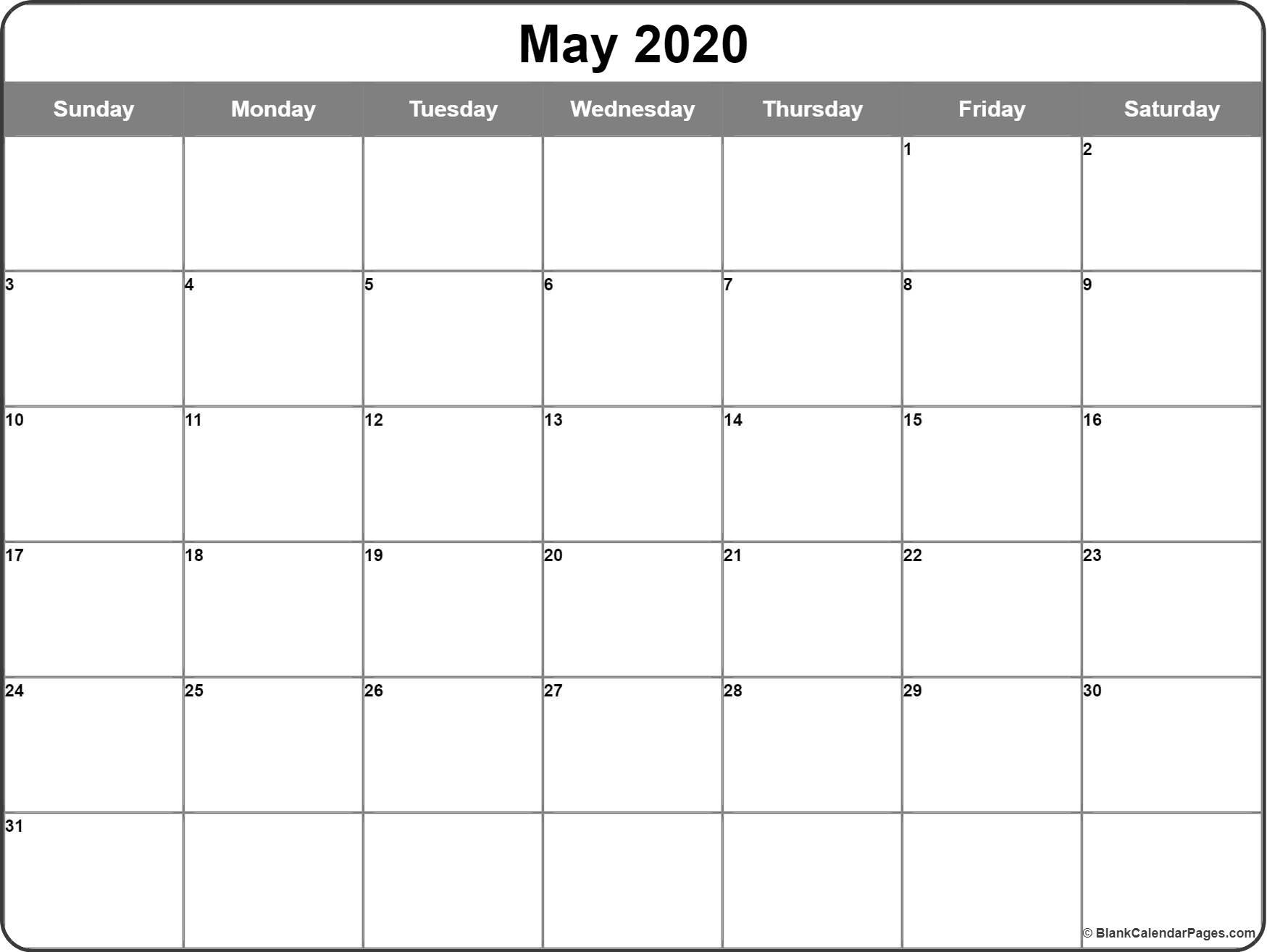May 2020 Calendar | Free Printable Monthly Calendars with 2020 Calendar Free Printable With Space To Write