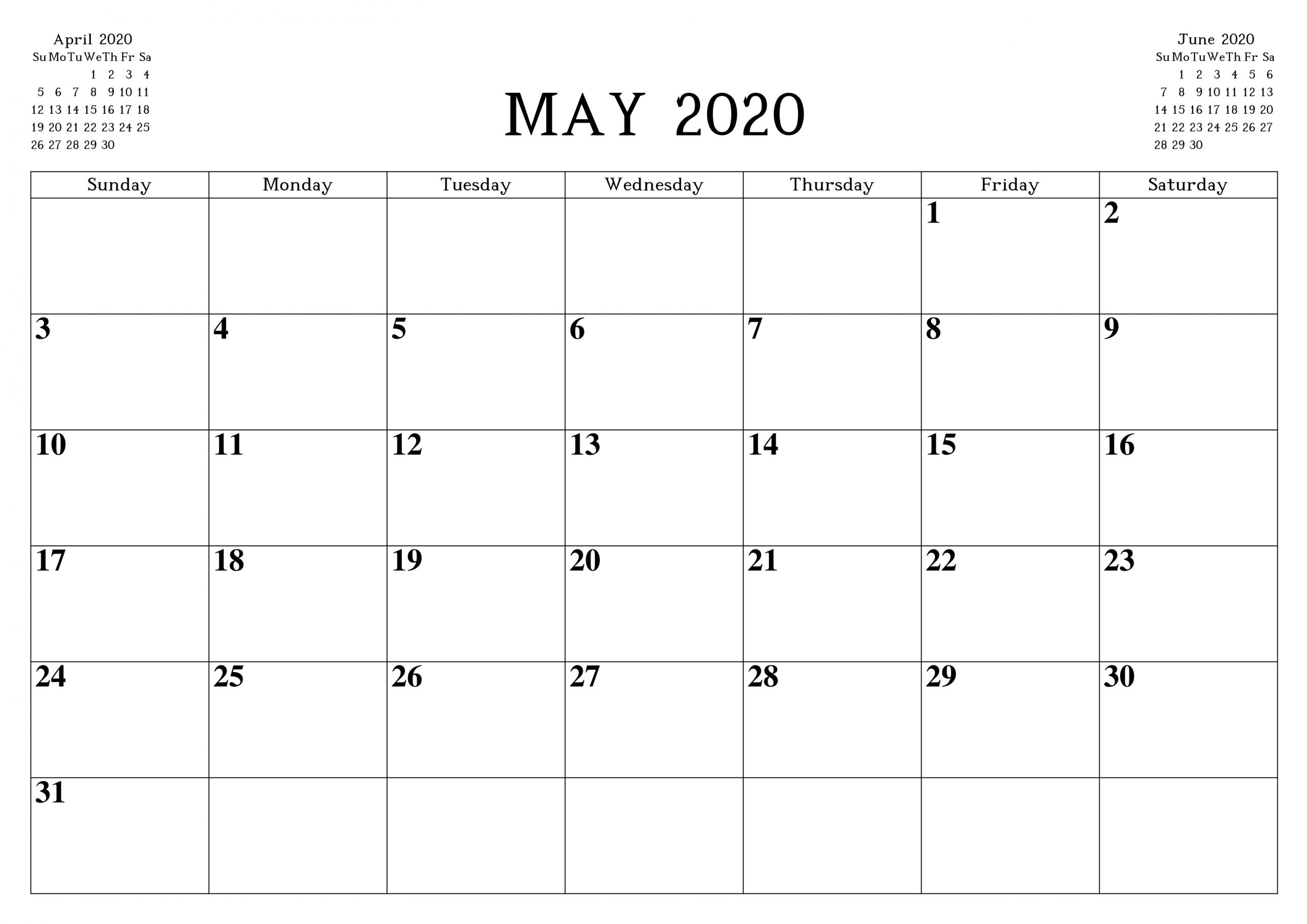May 2020 Calendar Printable Word Pdf Waterproof - Free