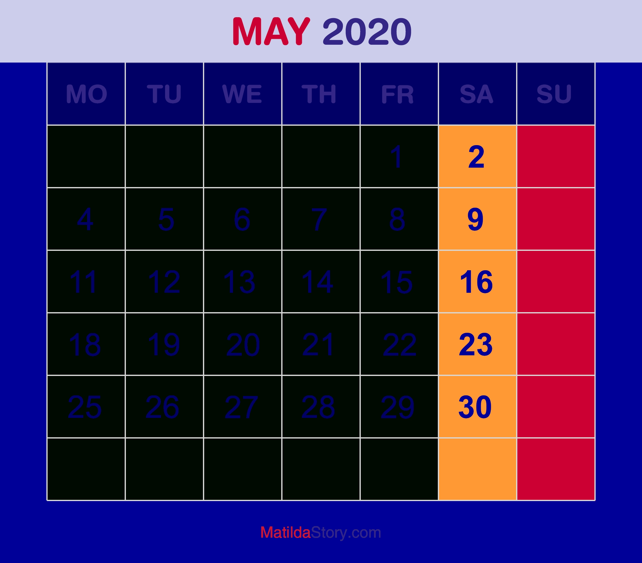 May 2020 Monthly Calendar, Monthly Planner, Printable Free in Monthly Calendars That Start With Monday