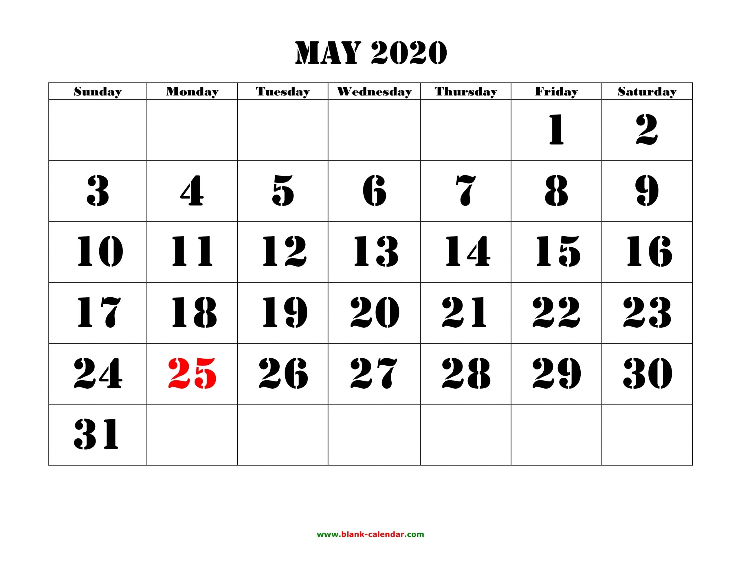 May 2020 Printable Calendar | Free Download Monthly Calendar for Large Numbers Free Printable Calendar 2020