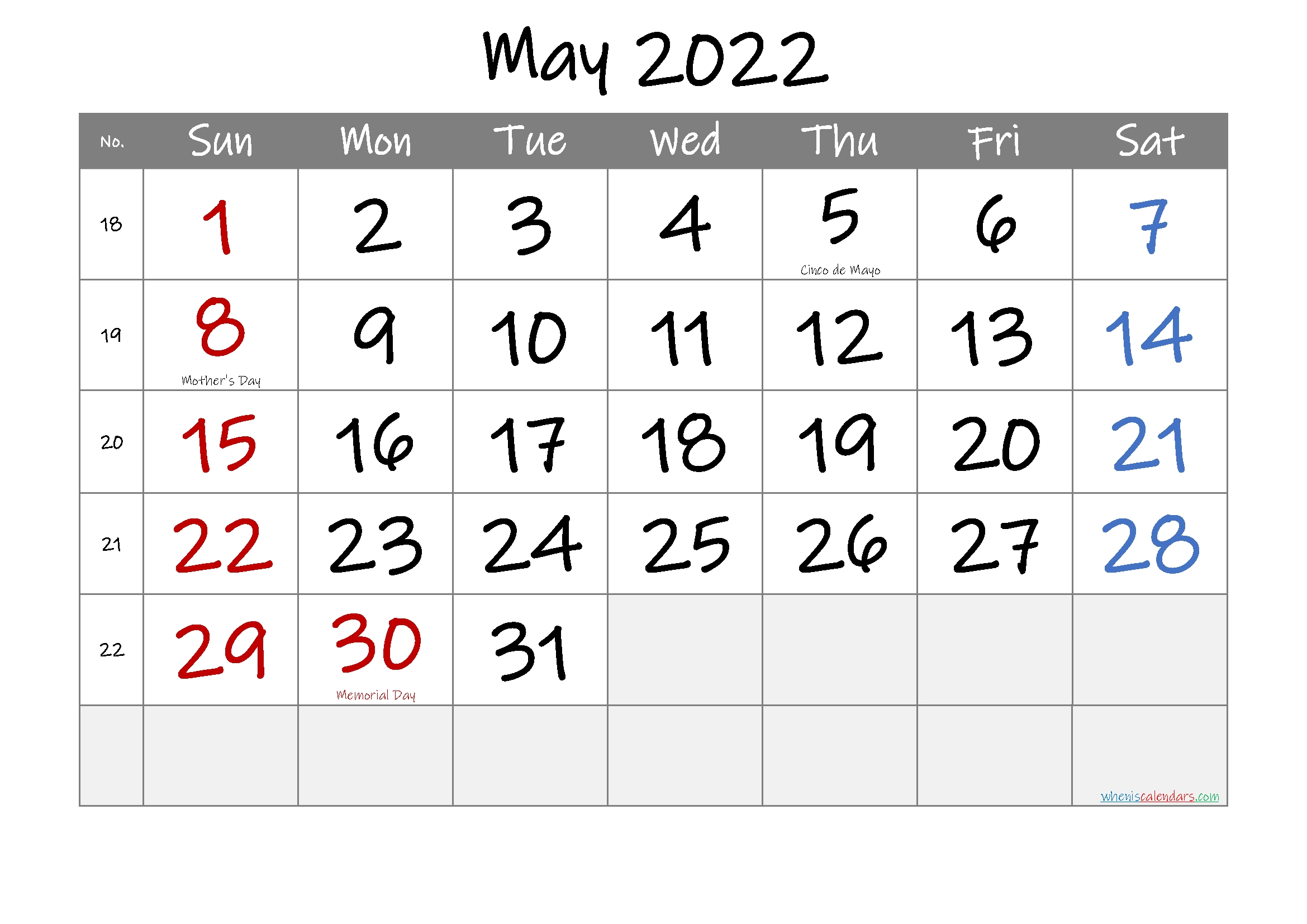May 2022 Free Printable Calendar-Template No.if22M29 – Free