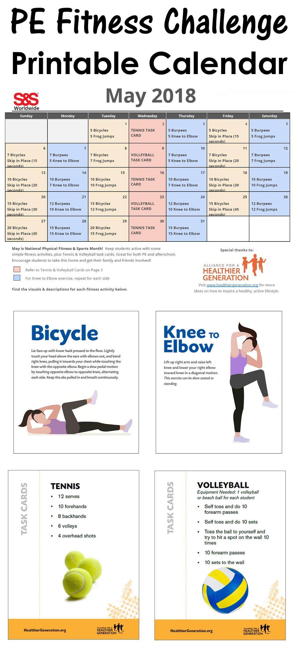 May Printable Fitness Challenge Calendar - S&S Blog