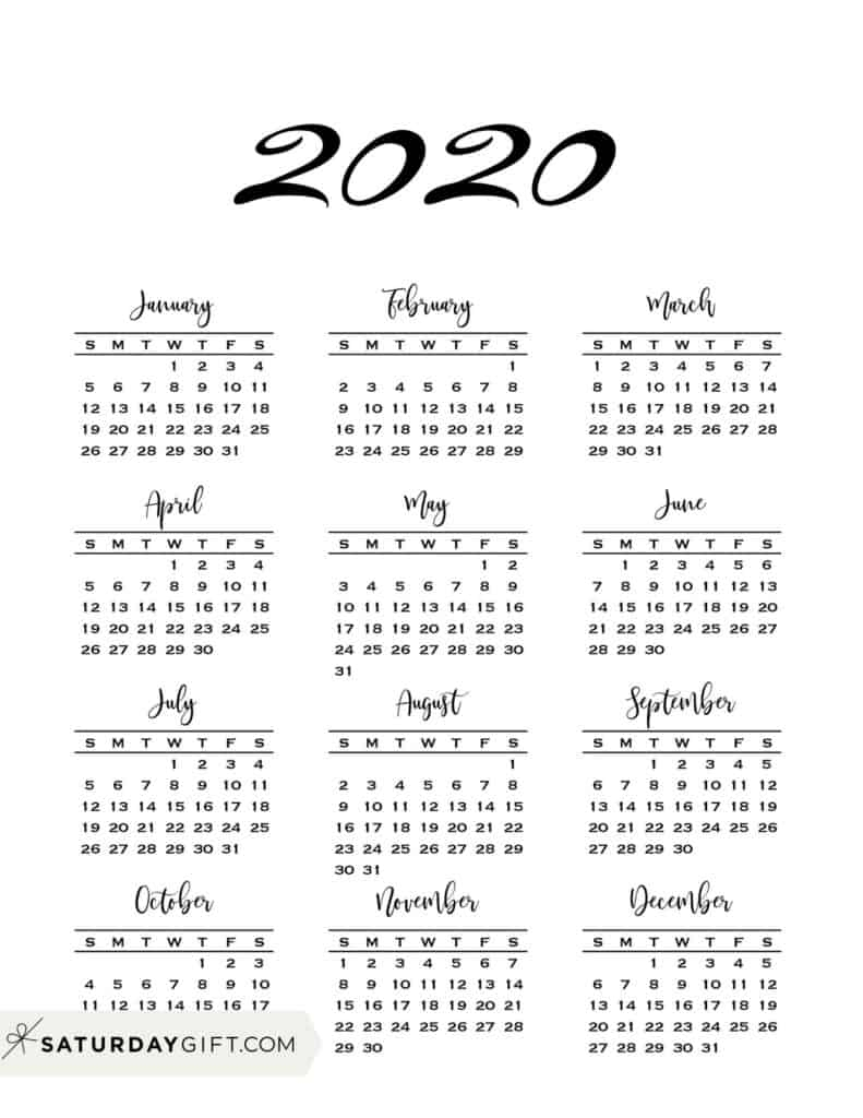 Minimal One Page Calendar For 2020 & 2021 {Free Printables} intended for 2020 Year At A Glance Download