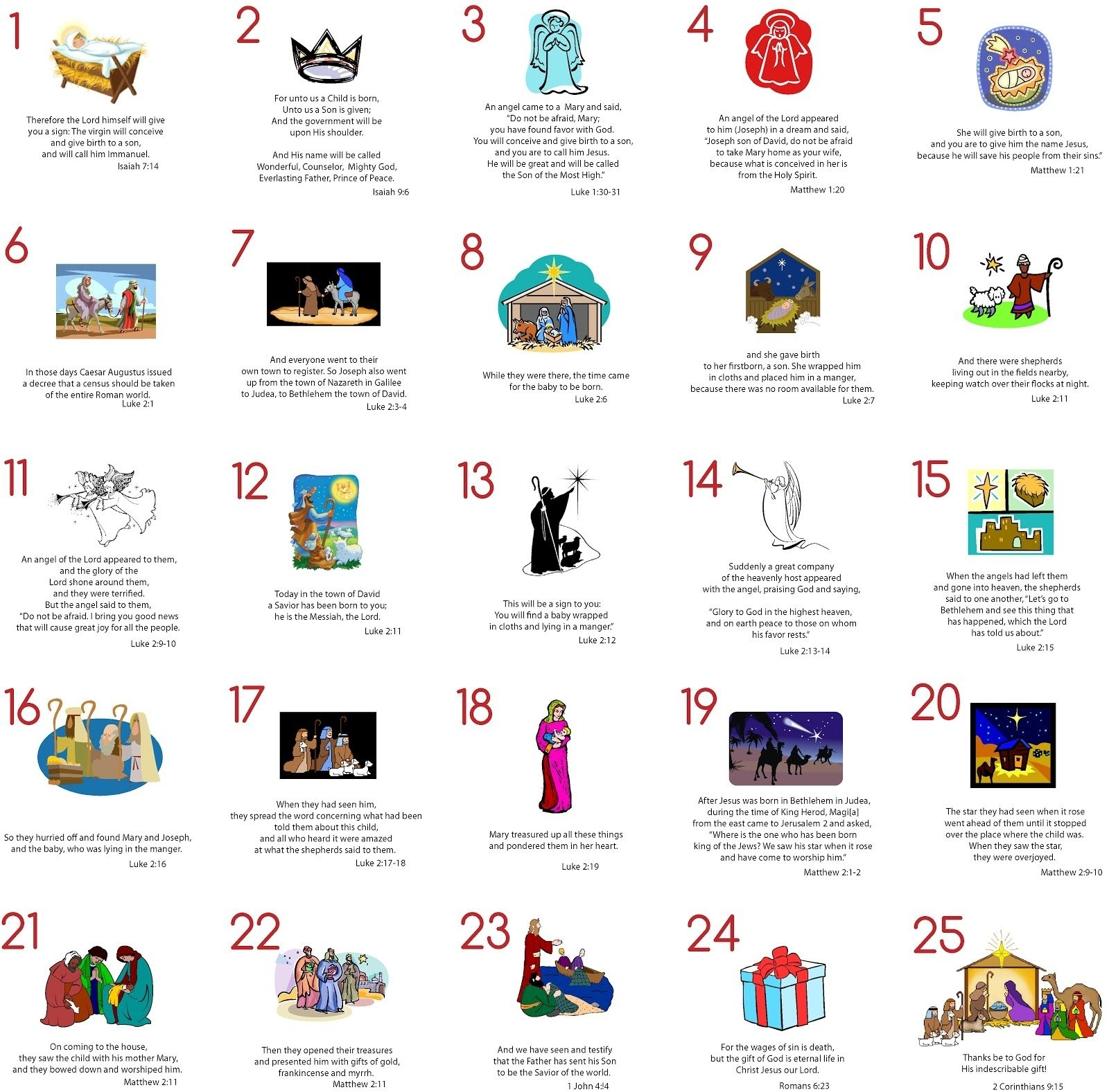 Modern Typography: Advent Cards: Free Printable | Advent inside Verses For Your Advent Calender