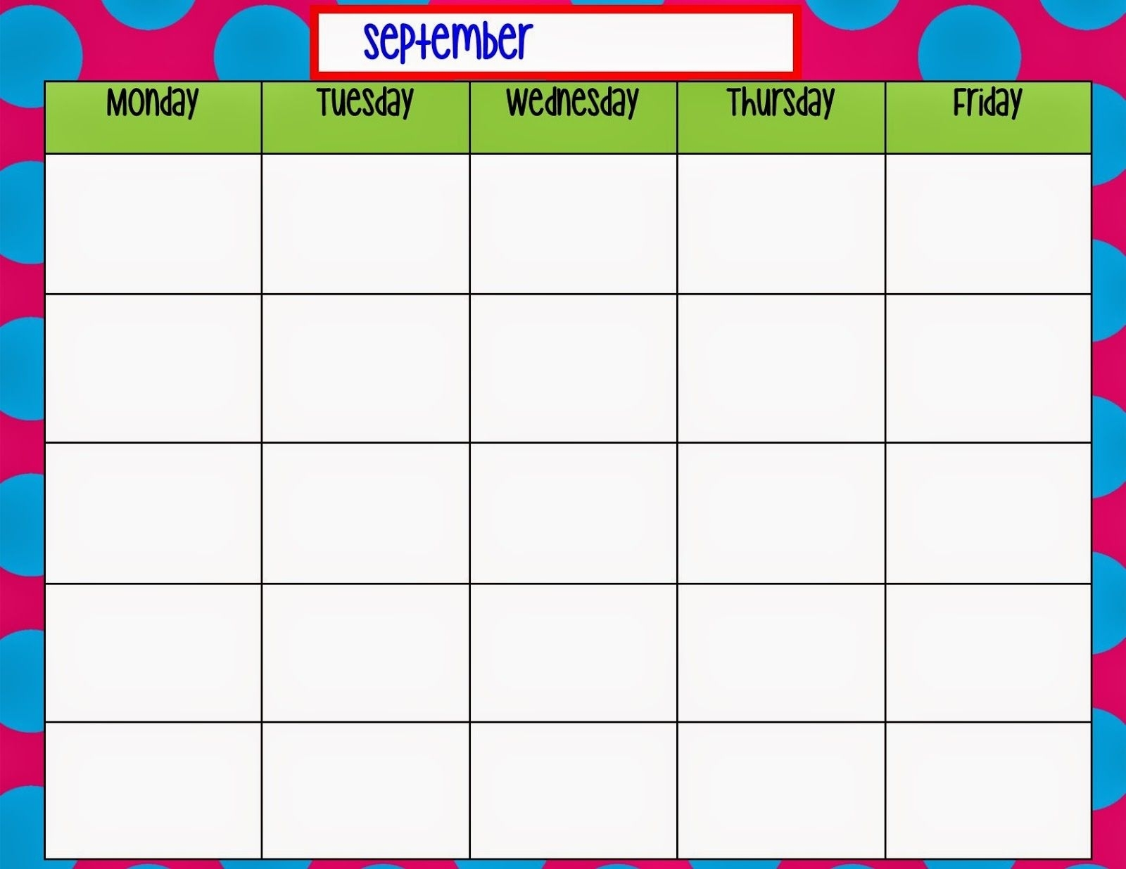 Monday Through Friday Calendar Template | Weekly Calendar