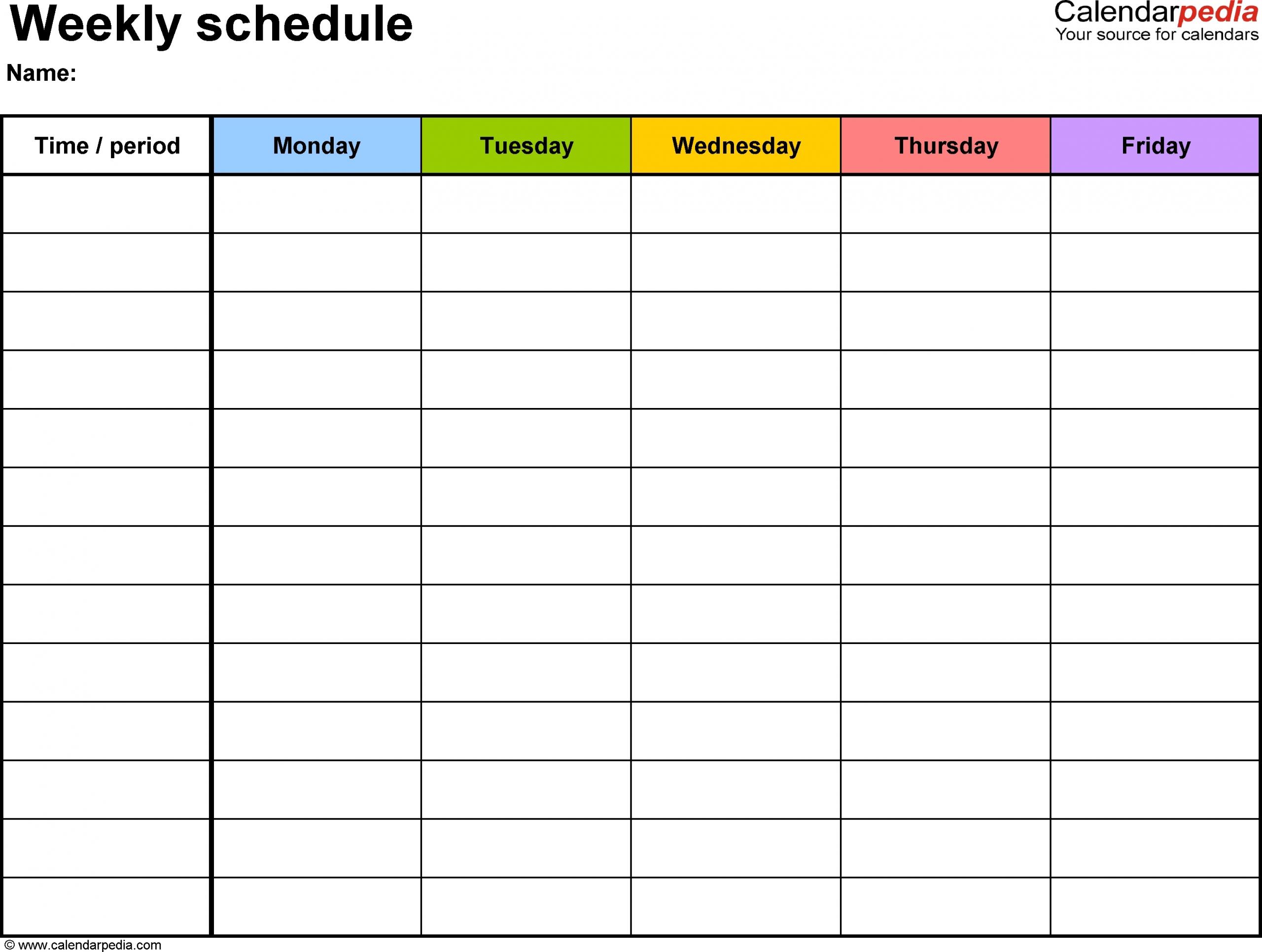 Monday To Friday Planner Template - Calendar Inspiration Design