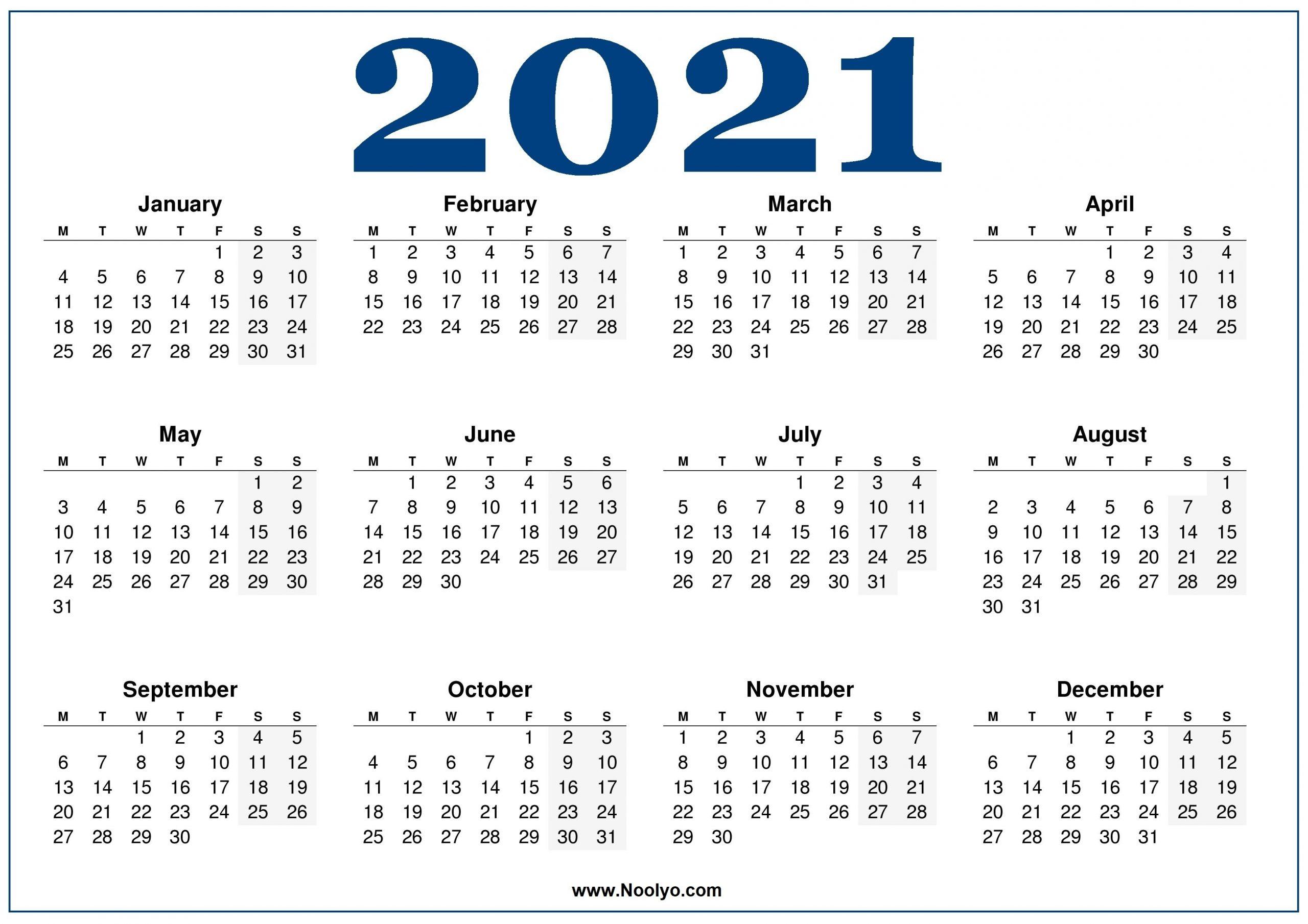 Monday Week Start Calendar 2021 Blue – Noolyo