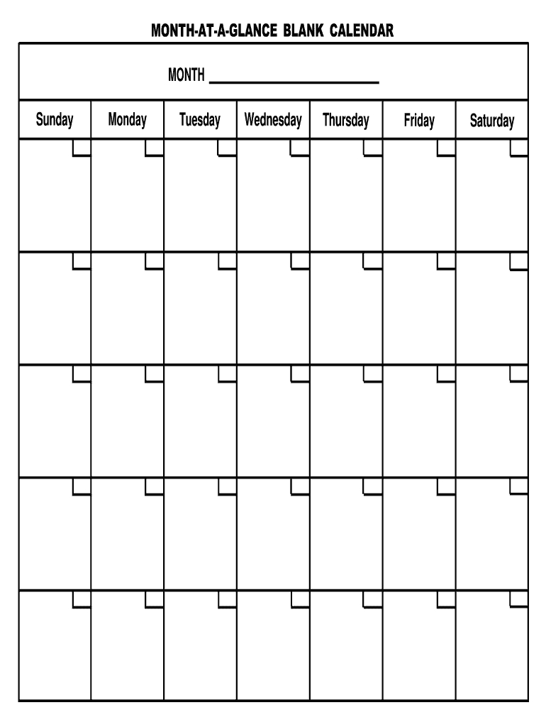 Month At A Glance Template - Fill Out And Sign Printable Pdf Template    Signnow
