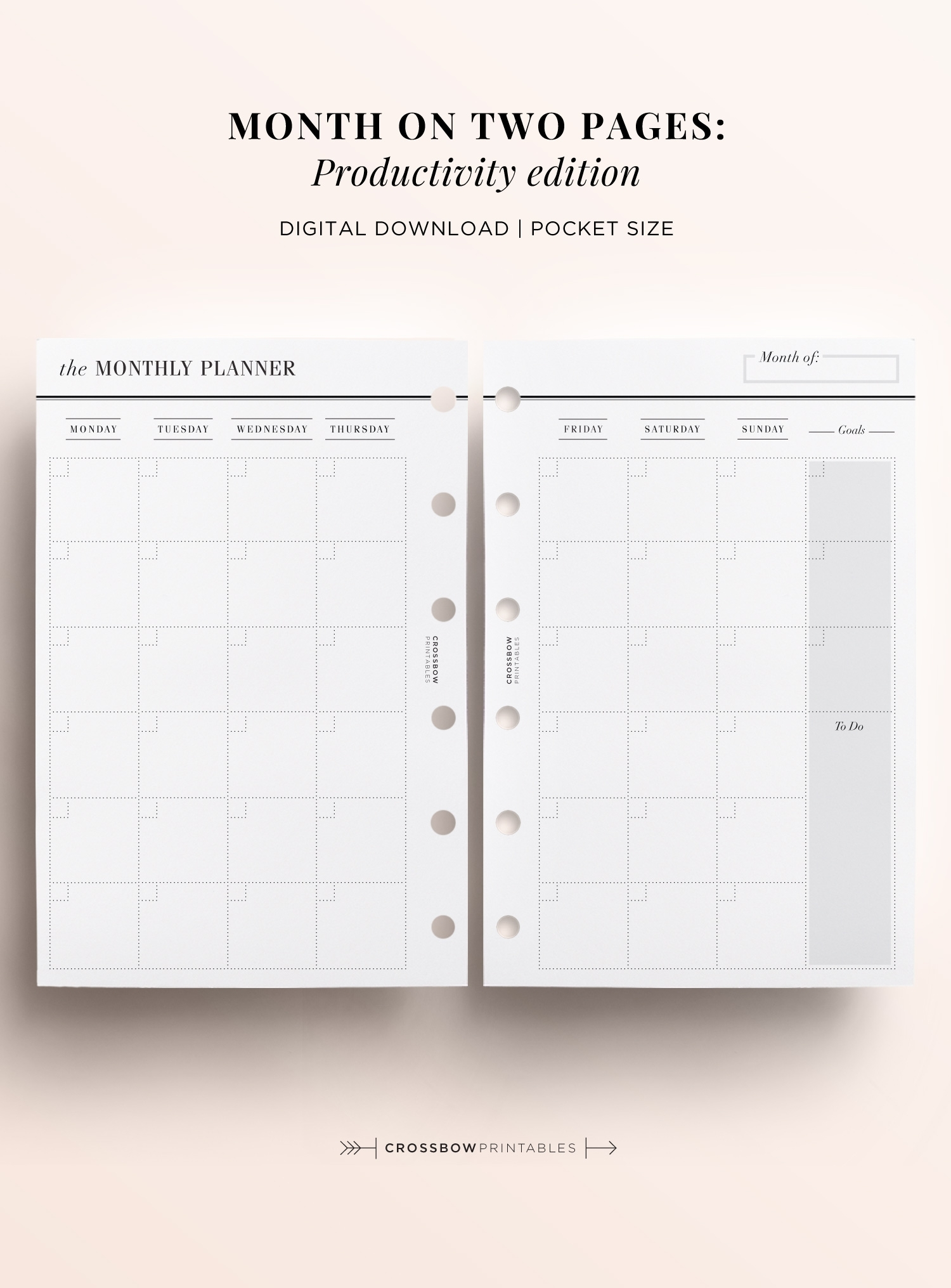 Month On Two Pages Productivity Edition: Printable Pocket Size Calendar