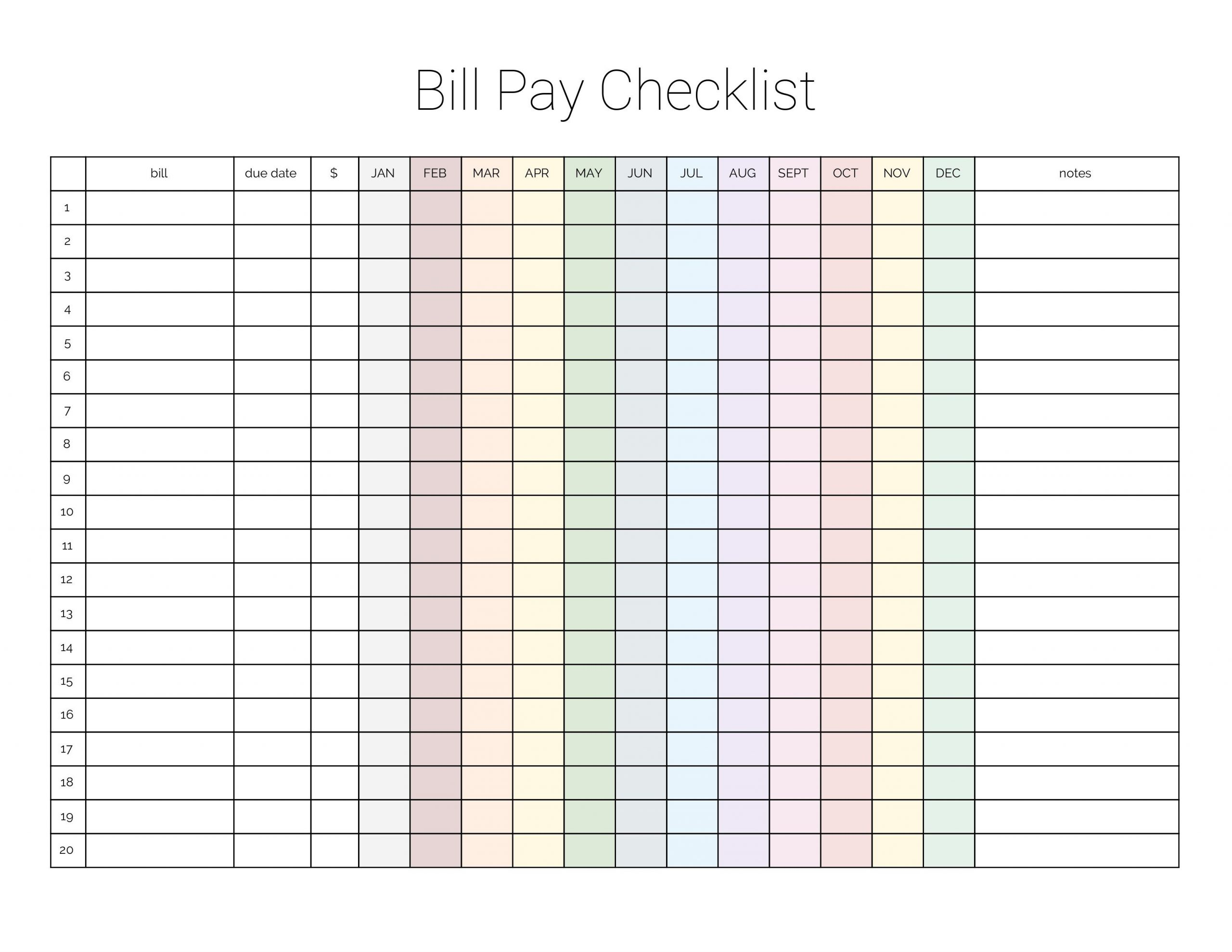 Monthly Bill Payment Checklist {Printable} - Million Ways To