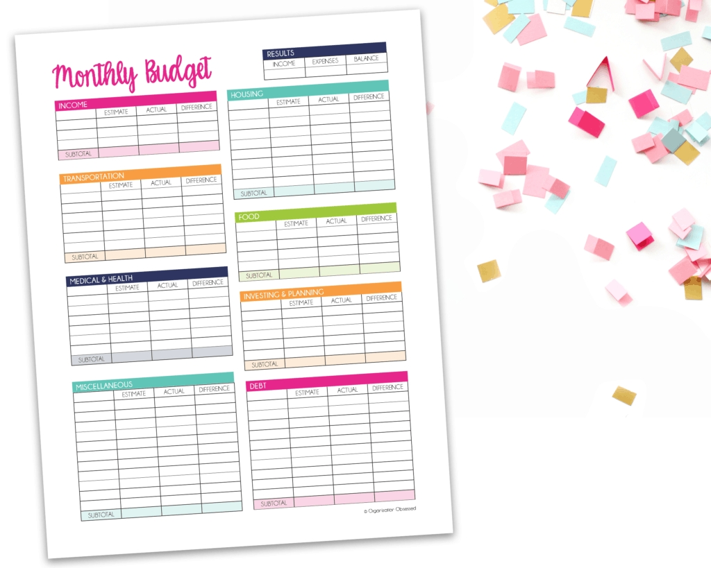 Monthly Budget Template Free Printable - Organization Obsessed