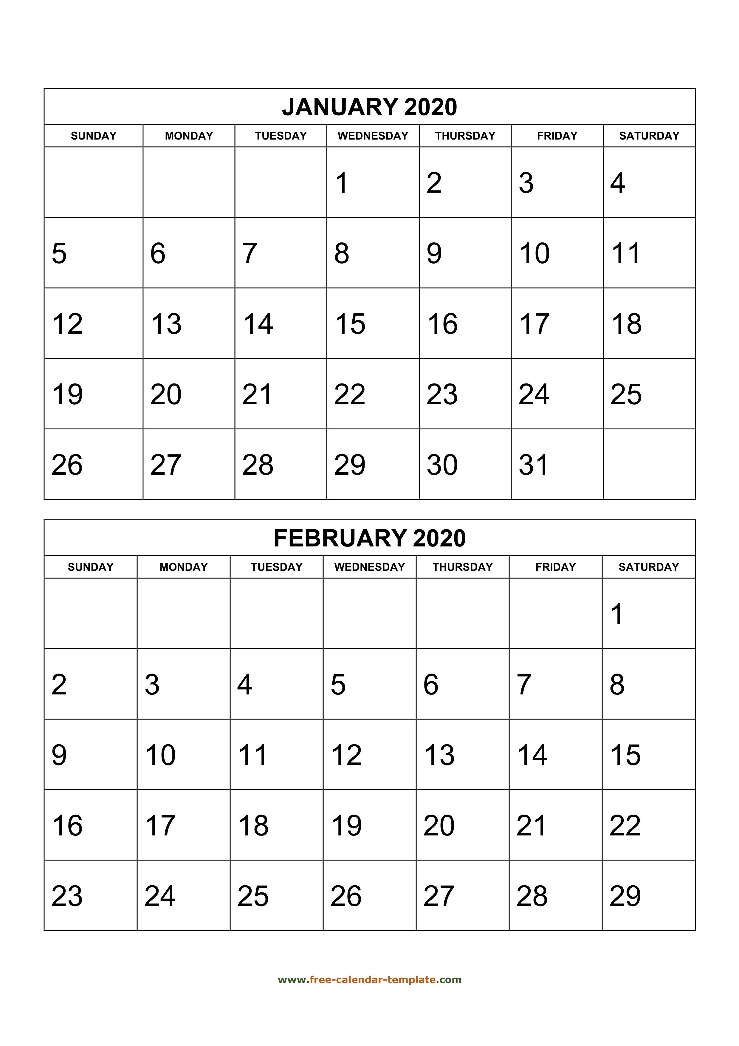 Monthly Calendar 2020, 2 Months Per Page (Vertical)   Free with regard to 2020 Month Calendar Sunday Through Saturday