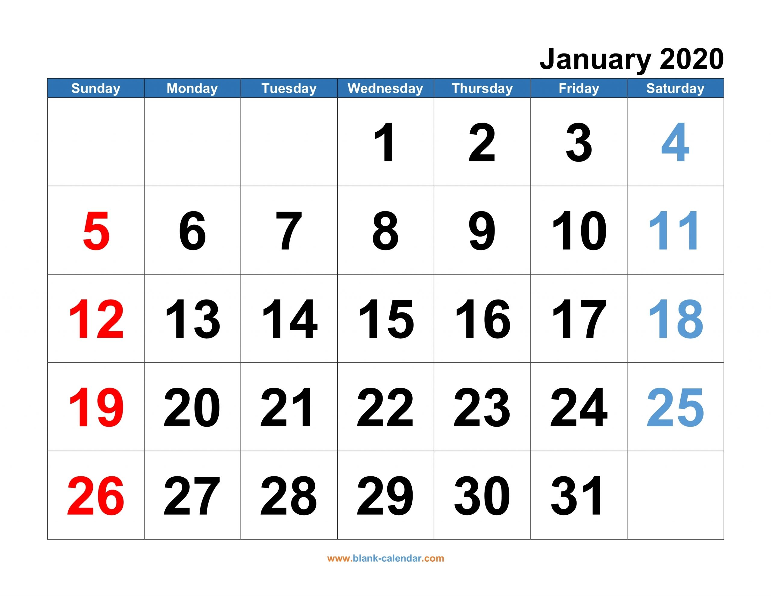 Monthly Calendar 2020 | Free Download, Editable And Printable in Blank Calendars With Days Of The Week Not Numbered