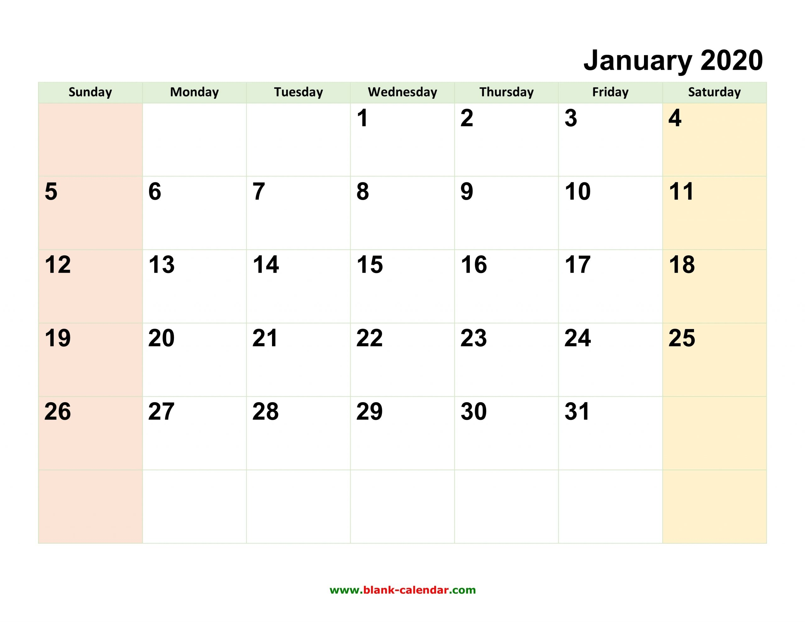 Monthly Calendar 2020 | Free Download, Editable And Printable regarding Blank Calendar 2020 Printable Monthly