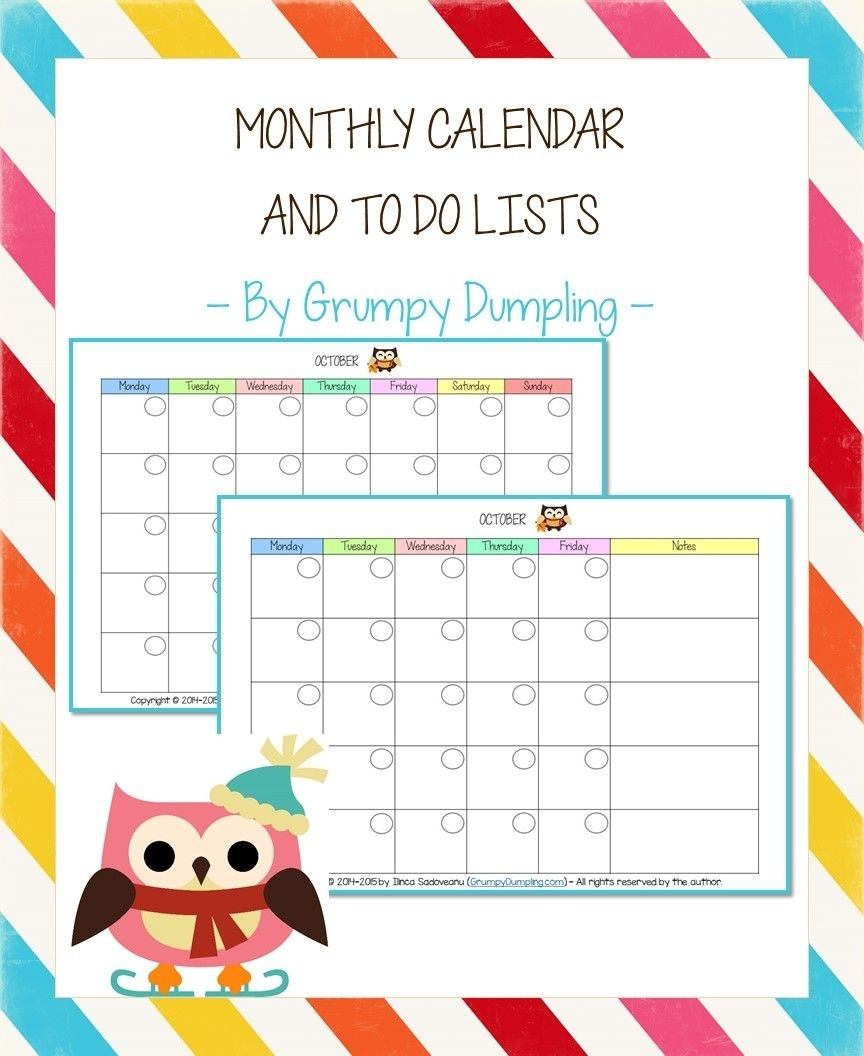 Monthly Calendar And To Do Lists | Calendar, Free Printable