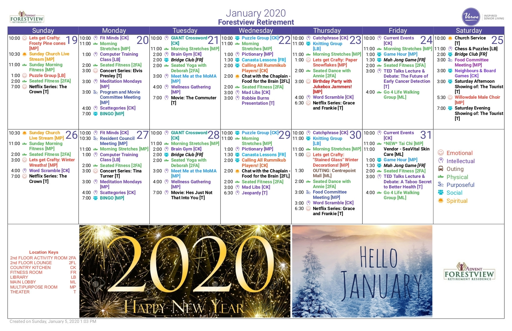 Monthly Calendar – Forestview Retirement Residence throughout Word Church Events Calender For 2020