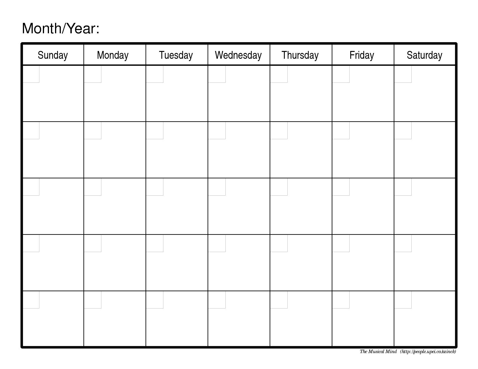Monthly Calendar Template   Blank Monthly Calendar Template