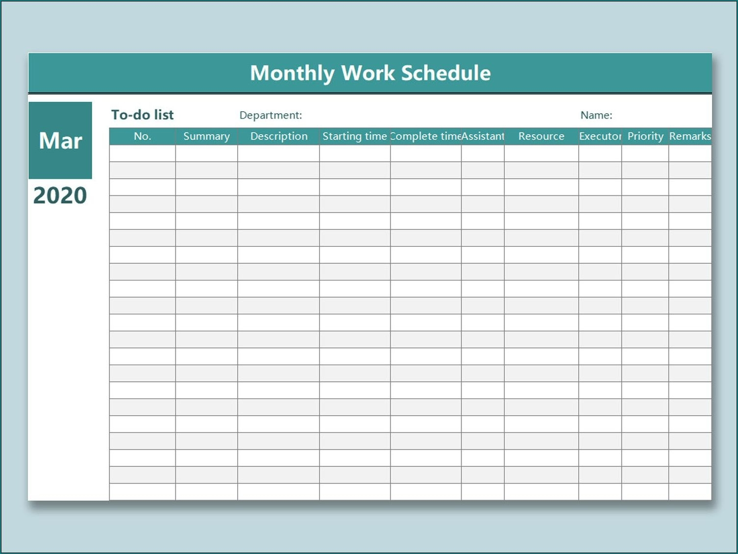 Monthly Employee Shift Schedule Template ~ Addictionary