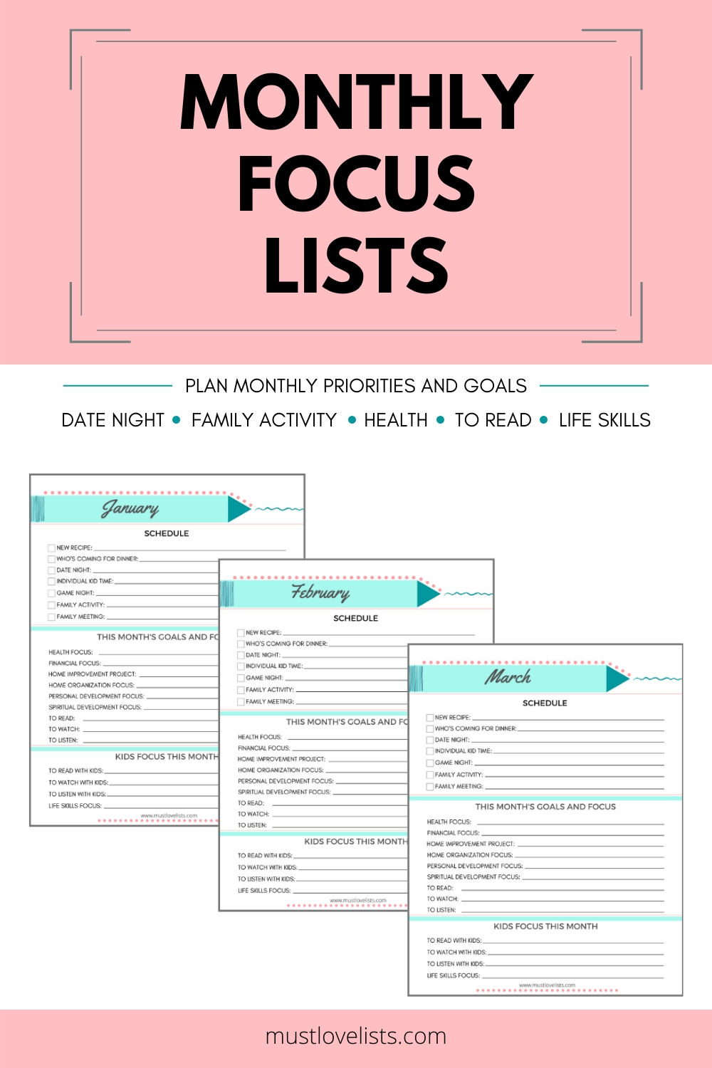 Monthly Focus Lists Goal List Monthly Schedule Monthly