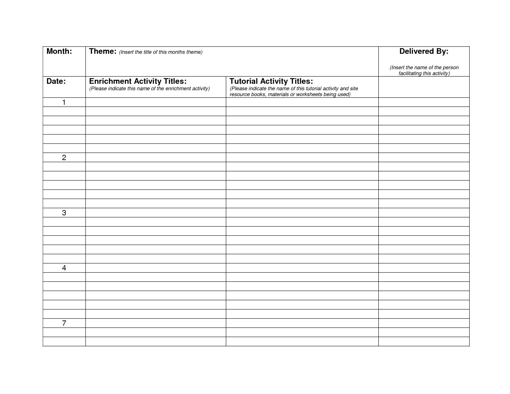 Monthly Lesson Plan Calendar Blank | Lesson Plan Templates