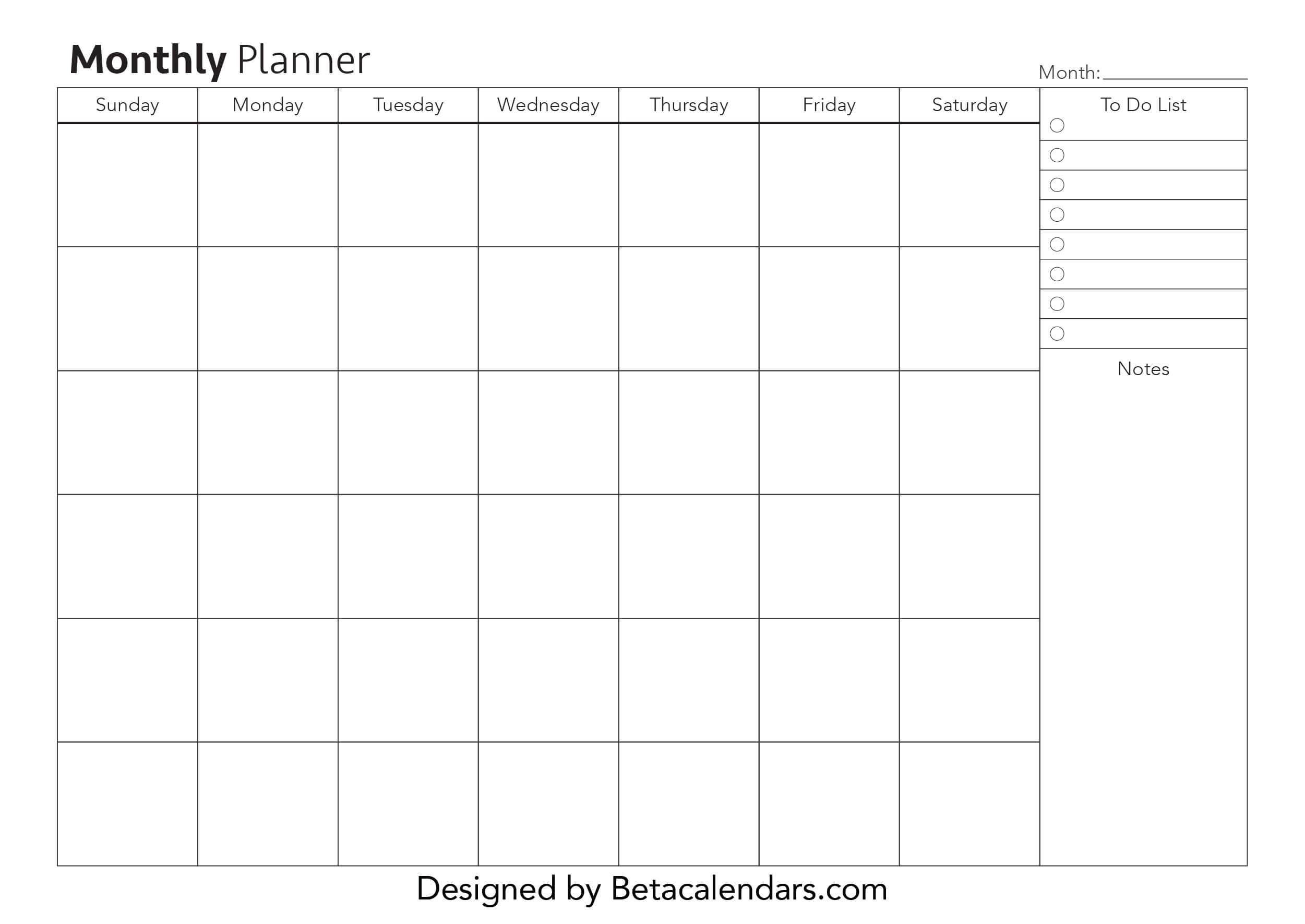 Monthly Planner | Free Blank Printable Monthly Planners