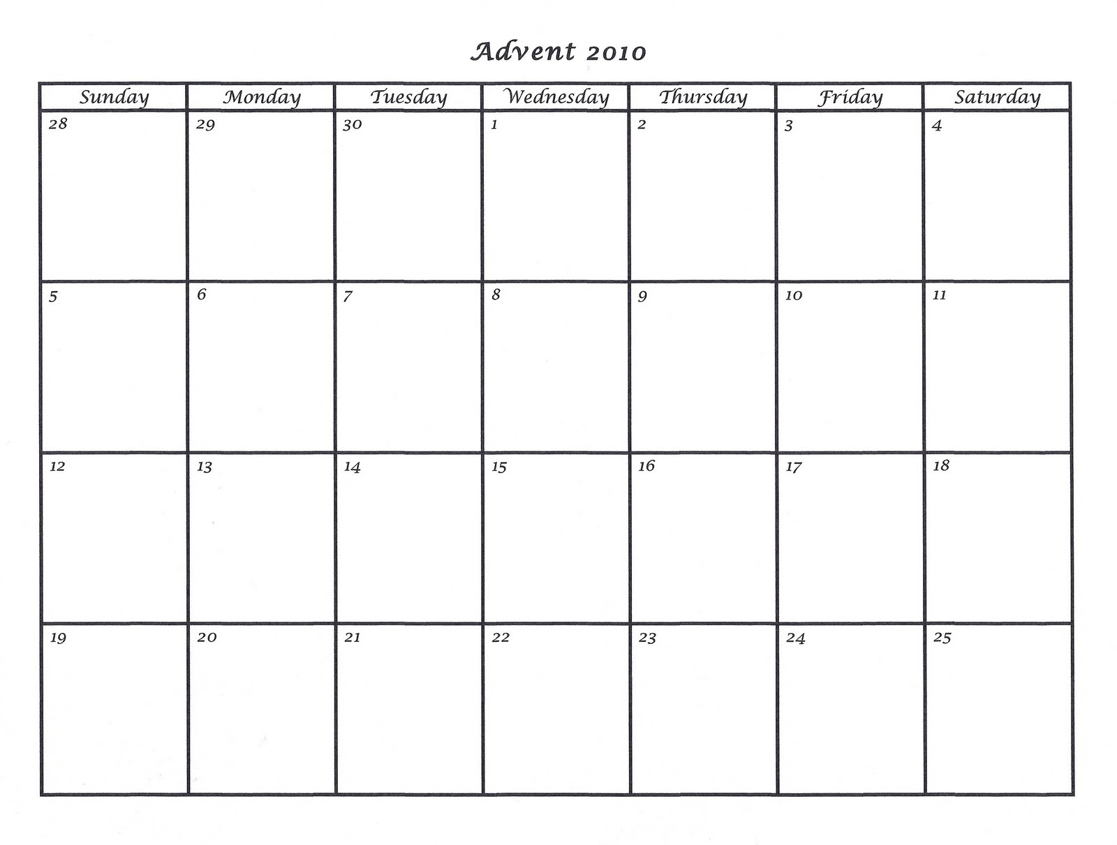 Mostly Markers: 2010 Advent Calendar Template