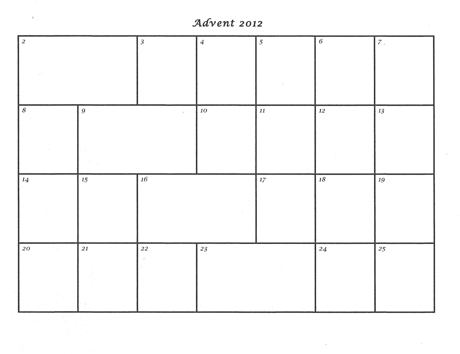 Mostly Markers: Advent Calendar Template 2012