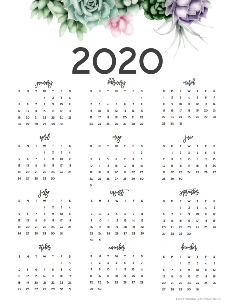 Musings Of An Average Mom: 2020 Year At A Glance Calendars throughout 2020 Calender At A Glance Free